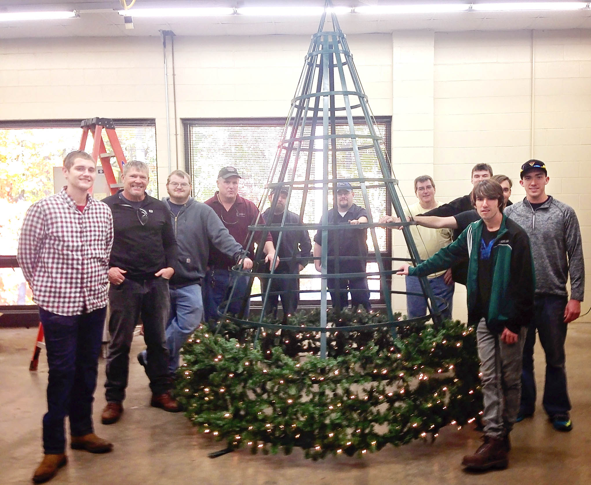 Click to enlarge,  The Central Carolina Community College Welding Technology Fabrication 151 class has assembled the college's new Christmas tree. The annual Christmas tree lighting ceremony will take place on Thursday, Dec. 1, at 5:30 p.m. on the CCCC Lee Main Campus.