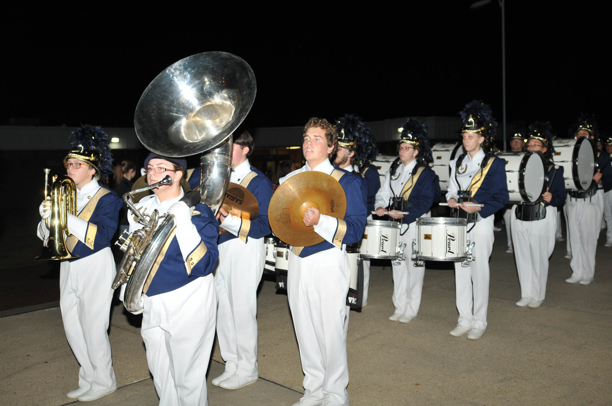 Click to enlarge,  The Lee County High School Marching Band participated in the Central Carolina Community College Christmas Tree Lighting celebration.