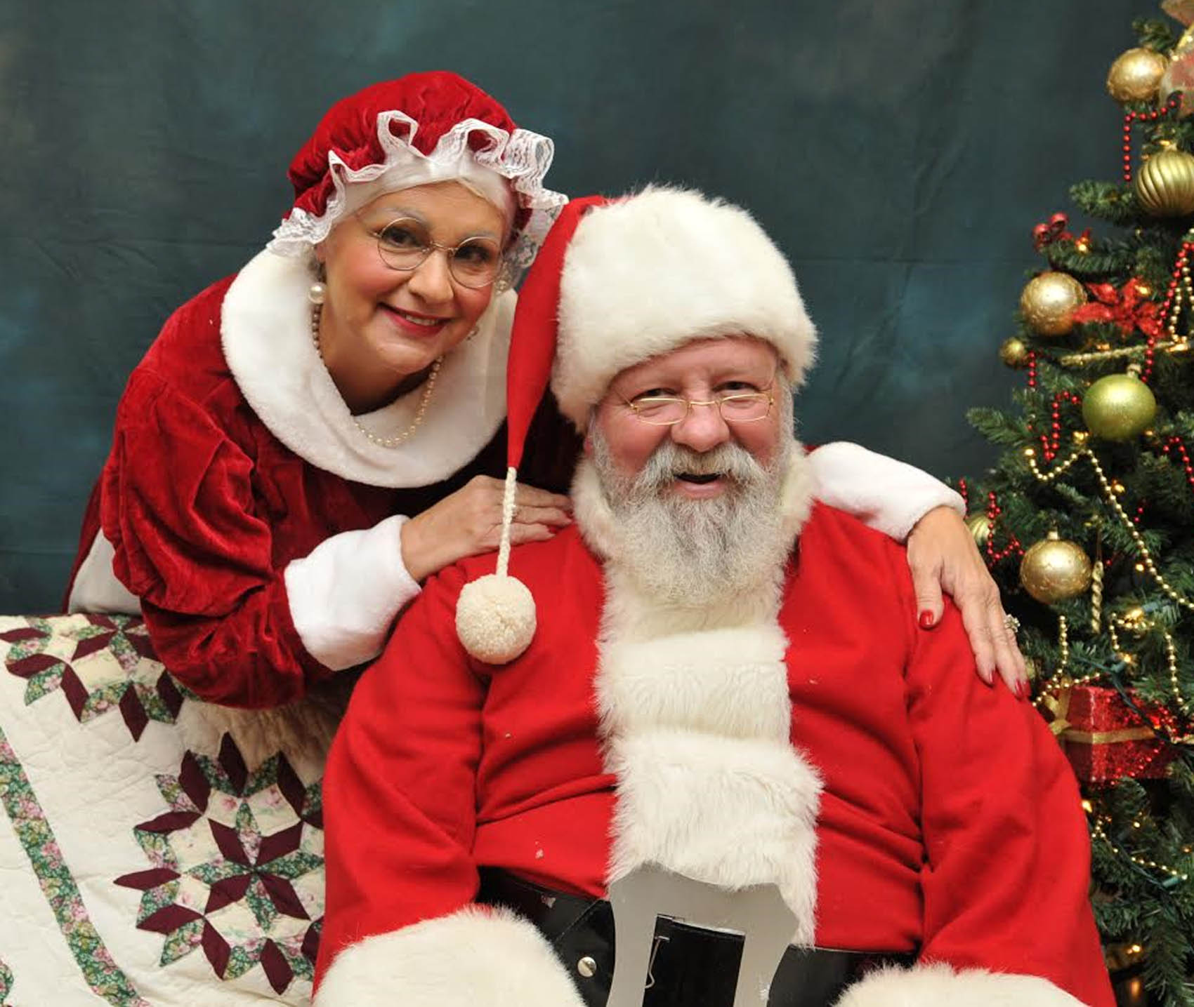 Click to enlarge,  Mr. and Mrs. Santa Claus were among those in attendance at the CCCC Fourth Annual Christmas Tree Lighting celebration.