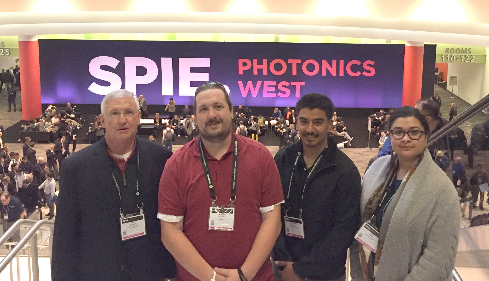 Click to enlarge,  Central Carolina Community College second-year students in the Laser and Photonics Technology program attended the 2017 SPIE Photonics West Convention in San Francisco. Pictured are, left to right: Gary Beasley (lead instructor), Cameron Childress, Antonio DePaz, and Kyla Ross.