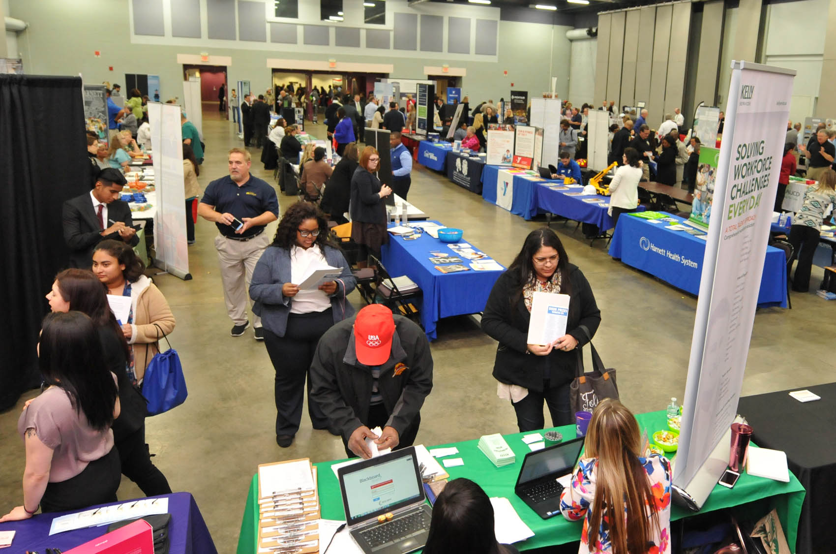 Click to enlarge,  Approximately 100 exhibitors were present for the Central Carolina Community College Annual Career Fair 2016. For more information on the CCCC Career Center, people can contact the Career Center at 919-718-7396 or visit the CCCC website at www.cccc.edu/careercenter.