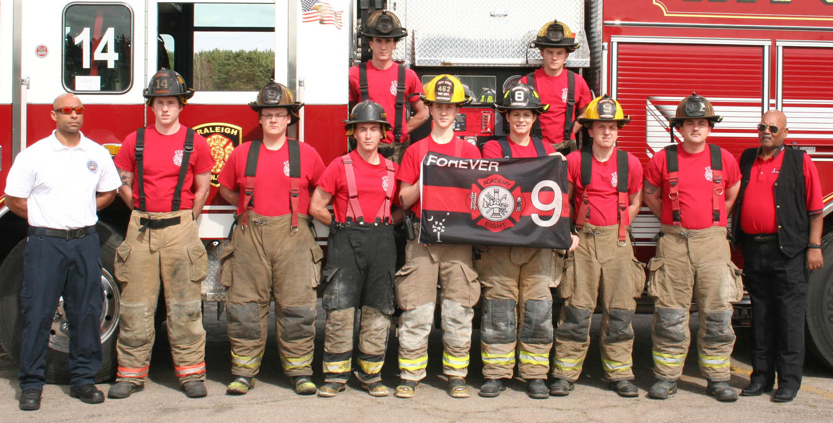 Click to enlarge,  Members of the Central Carolina Community College Fire Academy Spring 2017 are pictured, left to right: in front, Lt. Tim Houston (Fire Academy Coordinator), Joshua Ragan, Justin Gaster, Cam Jaynes, Spencer Fallin, Madison Perry, Dallas Faulk, Daniel Chandler, and Capt. Tramp Dunn (Ret.) (Fire Training Advisor); in back, Austin Gribble and Brent Hilliard.