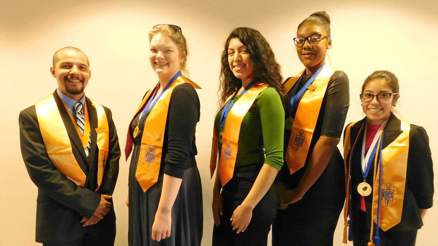 Click to enlarge,  Officers of the Central Carolina Community College Phi Theta Kappa International Honor Society are pictured, left to right: Rogelio Salvador, President; Lauren Vann, Vice President; Janely Rivera, Public Relations Secretary; Yolanda Leach, Recording Secretary; and PTK Regional Vice President Teresa Echeverria.