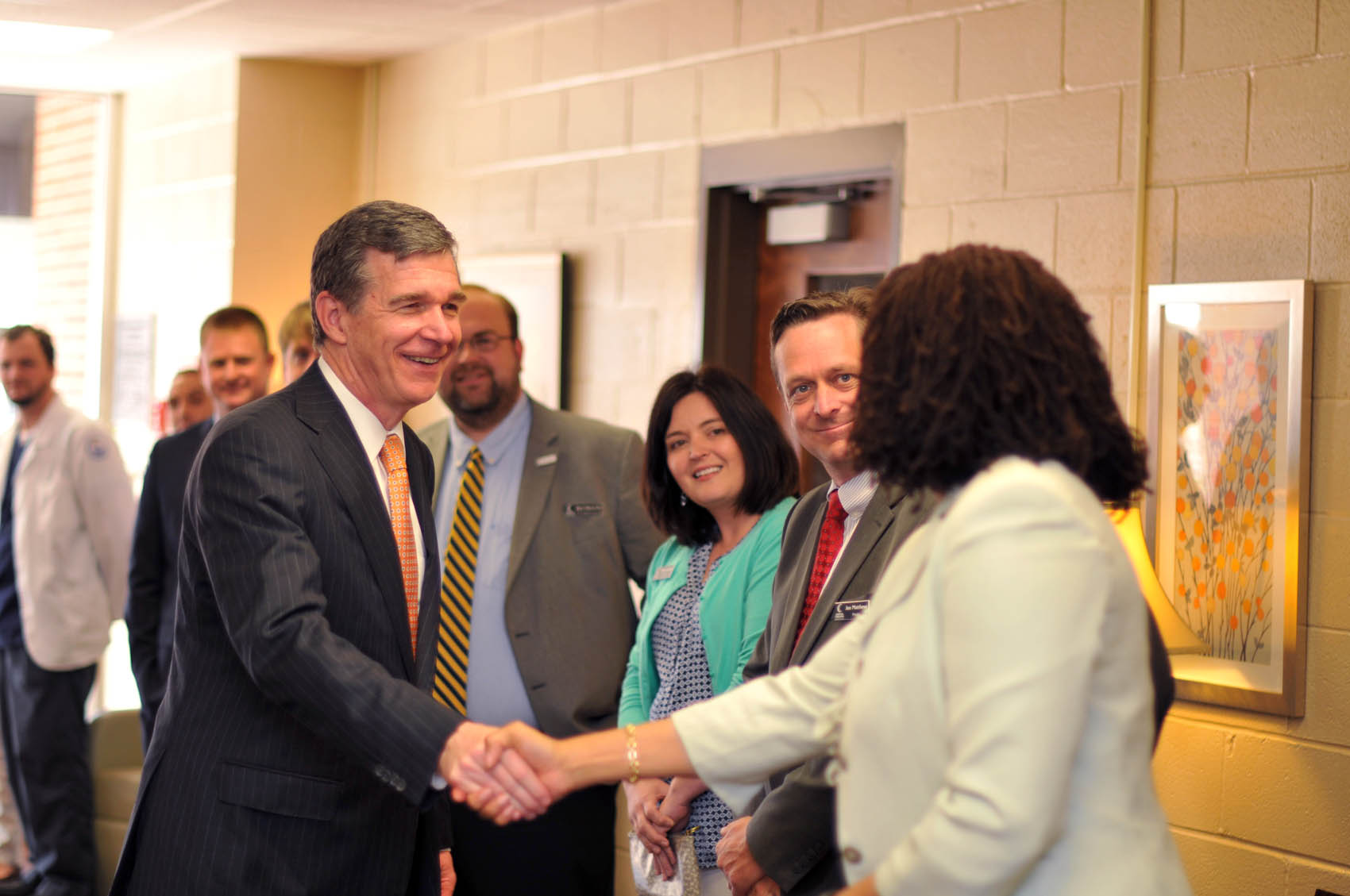 Click to enlarge,  North Carolina Gov. Roy Cooper visits with Central Carolina Community College faculty, staff, and students on Wednesday, April 12, at the CCCC Lee Main Campus.