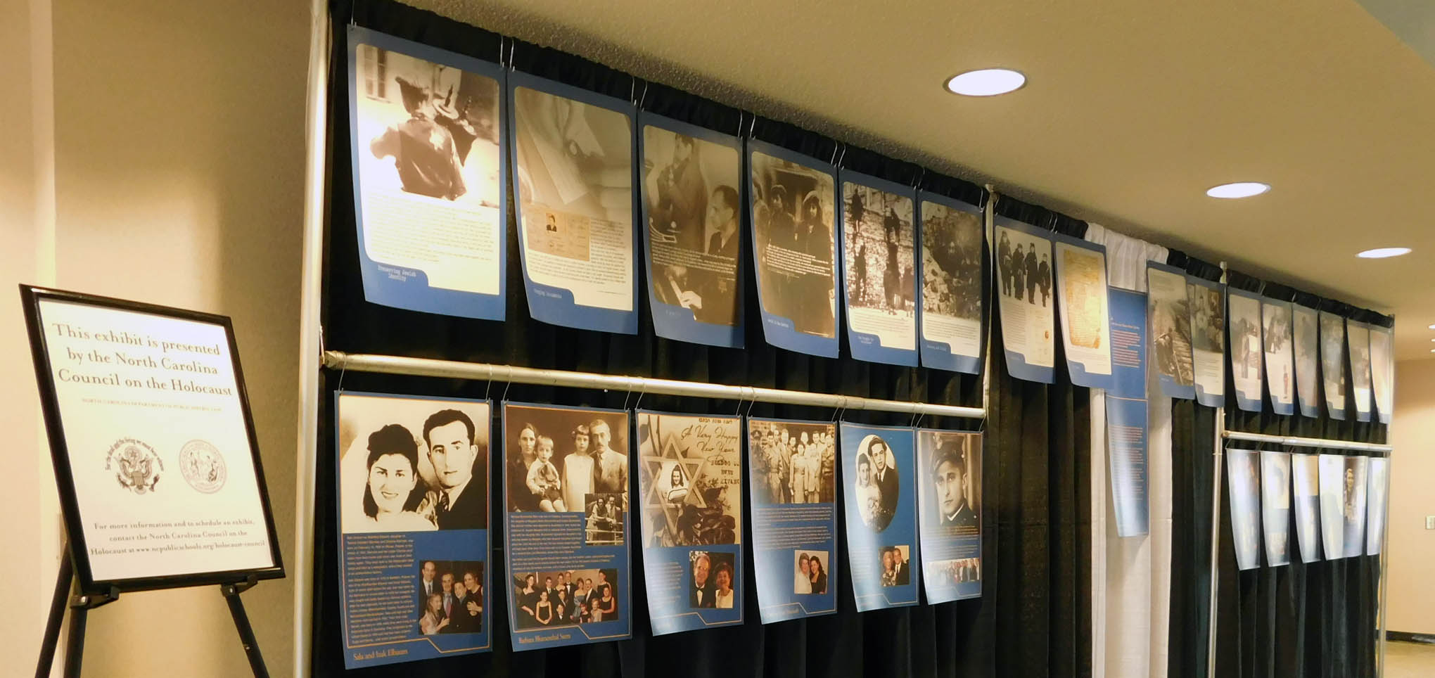 Click to enlarge,  An exhibit presented by the North Carolina Council on the Holocaust was on display at the Fourth Annual Holocaust Remembrance Event presented by Central Carolina Community College on April 21 at the Dennis A. Wicker Civic Center in Sanford.