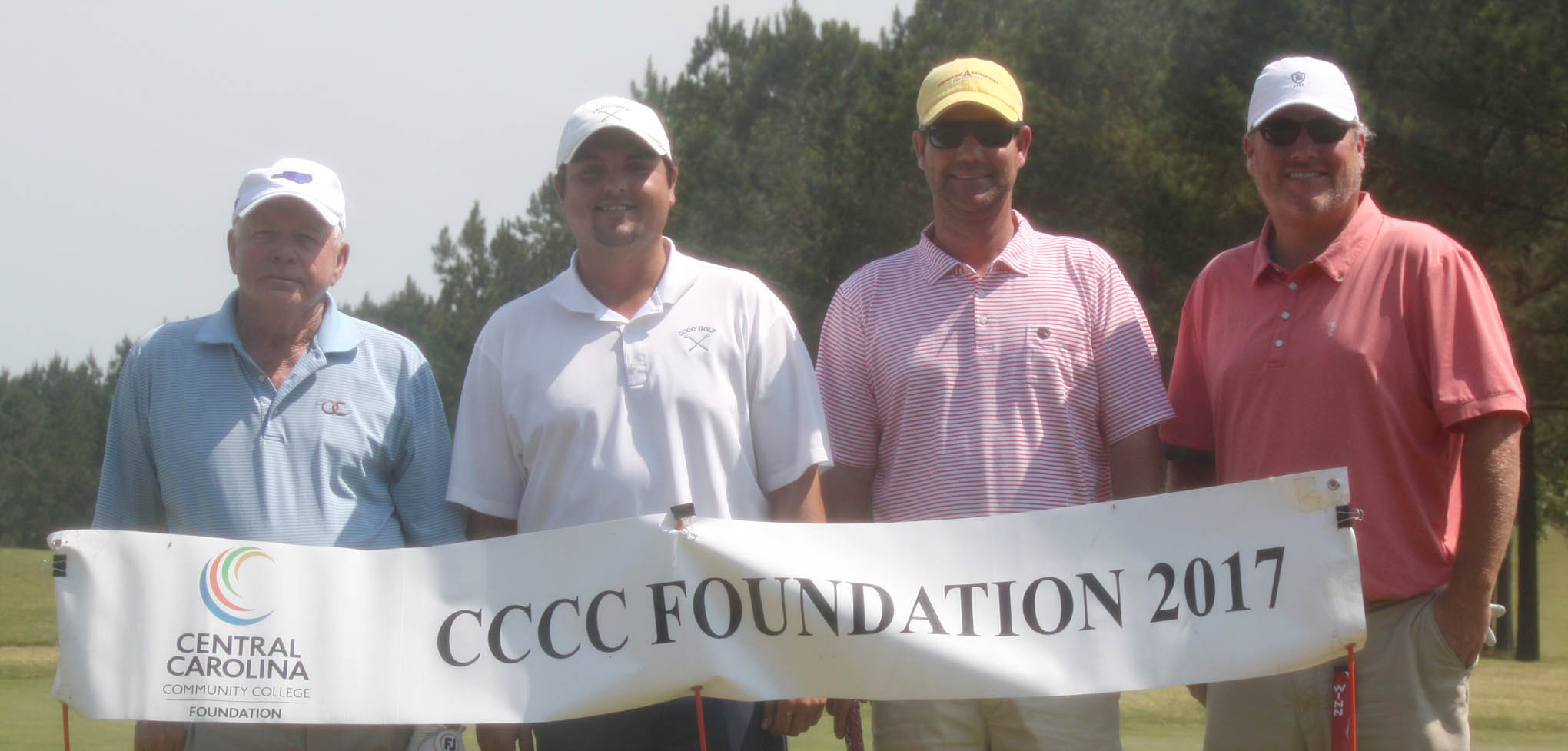 Click to enlarge,  Members of the first flight winning team in the fourth Central Carolina Community College Foundation Chatham Golf Classic were Bobby Powell, Jack Radley, David Wicker, and Andy Phillips. For information about the Foundation, donating to it, establishing a scholarship, or other fund-raising events, contact Emily Hare, Executive Director of the CCCC Foundation, 919-718-7230, or ehare@cccc.edu. Information is also available at the CCCC Foundation website, www.cccc.edu/foundation.