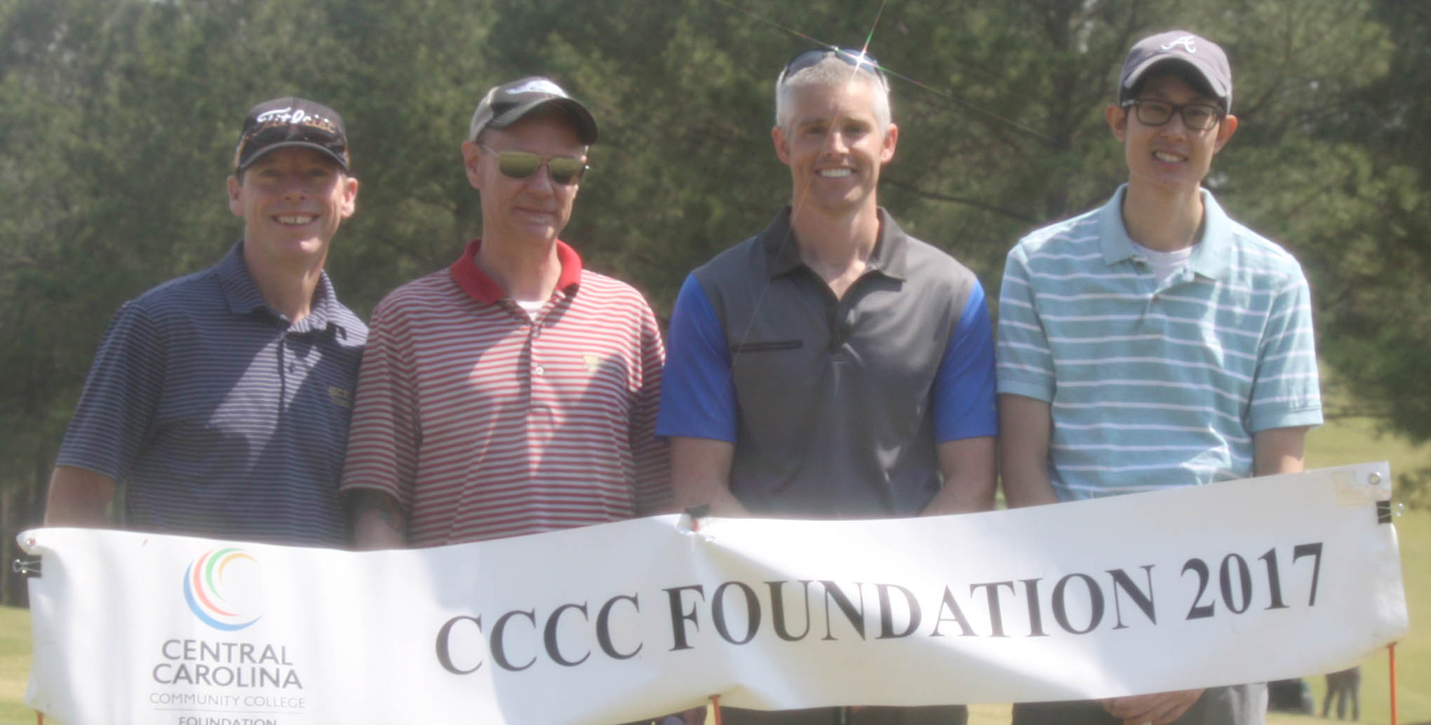 Click to enlarge,  Members of the second flight winning team in the fourth Central Carolina Community College Foundation Chatham Golf Classic were Joe Chapman, David Belser, Judson Elliot, and Andrew Chamkasem. For information about the Foundation, donating to it, establishing a scholarship, or other fund-raising events, contact Emily Hare, Executive Director of the CCCC Foundation, 919-718-7230. Information is also available at the CCCC Foundation website, www.cccc.edu/foundation.