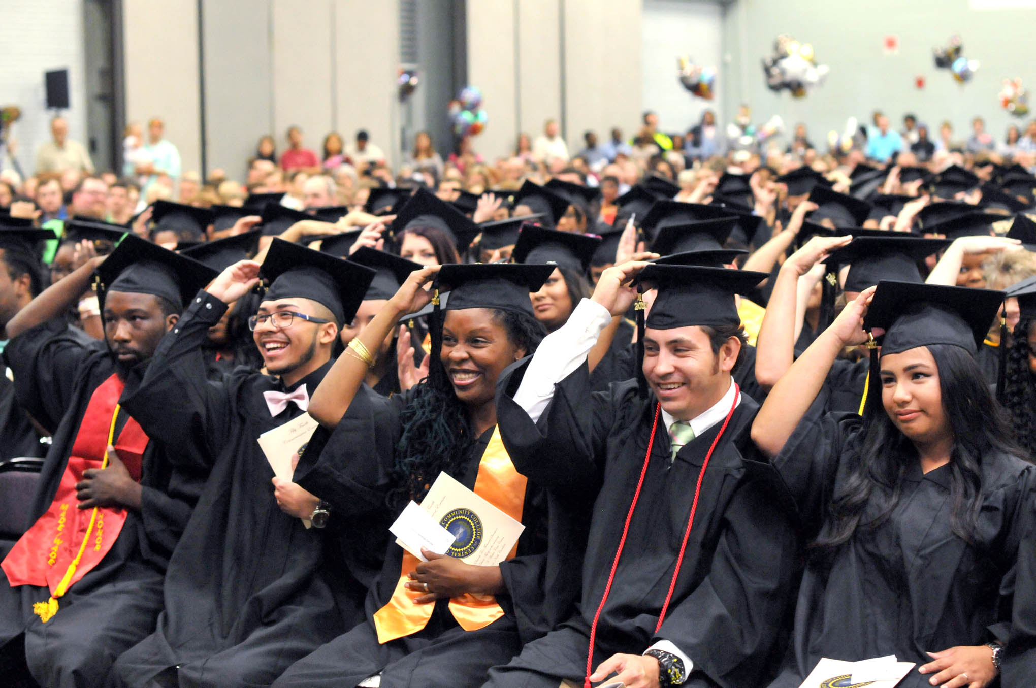 Click to enlarge,  A large audience attended the Central Carolina Community College commencement exercises on May 11 at the Dennis A. Wicker Civic Center in Sanford.