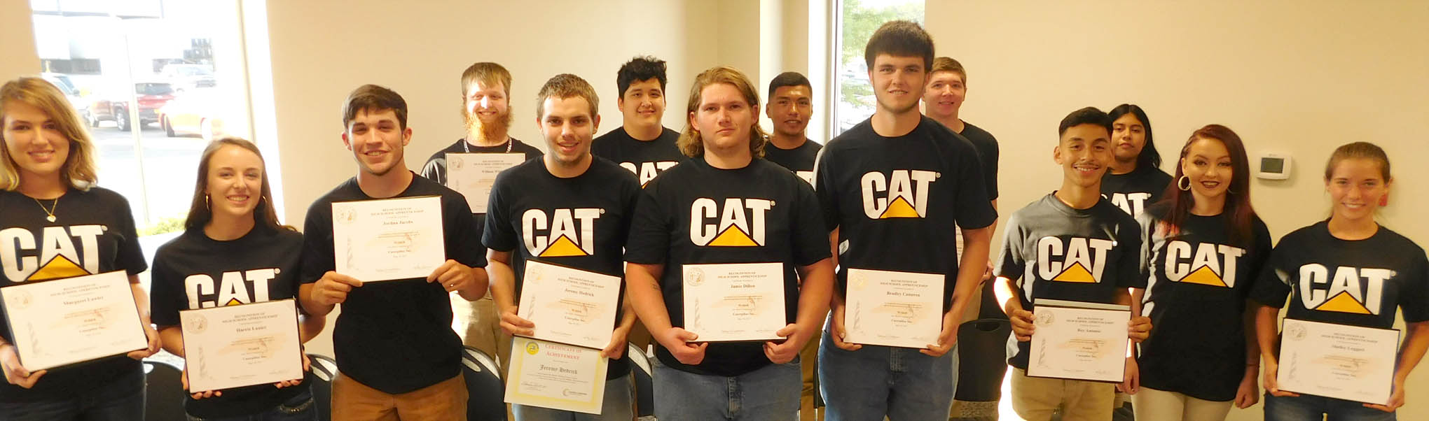 Click to enlarge,  The newest graduates of the Caterpillar Youth Apprentice Program.