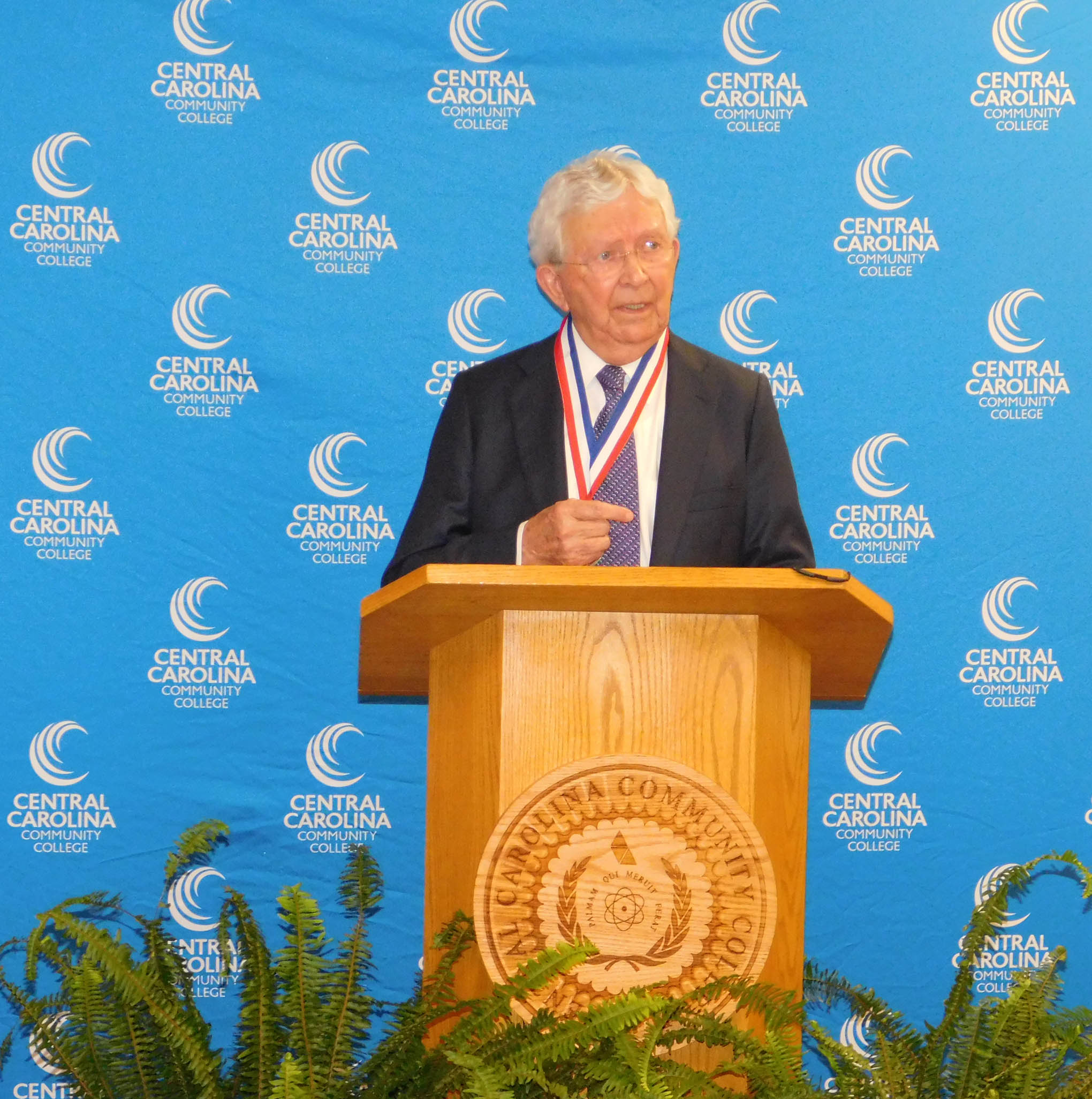 Click to enlarge,  Dr. J.F. Hockaday, president of Central Carolina Community College from 1969 to 1983, has been recognized as the latest recipient of the I.E. Ready Award, the highest honor bestowed by the State Board of Community Colleges.