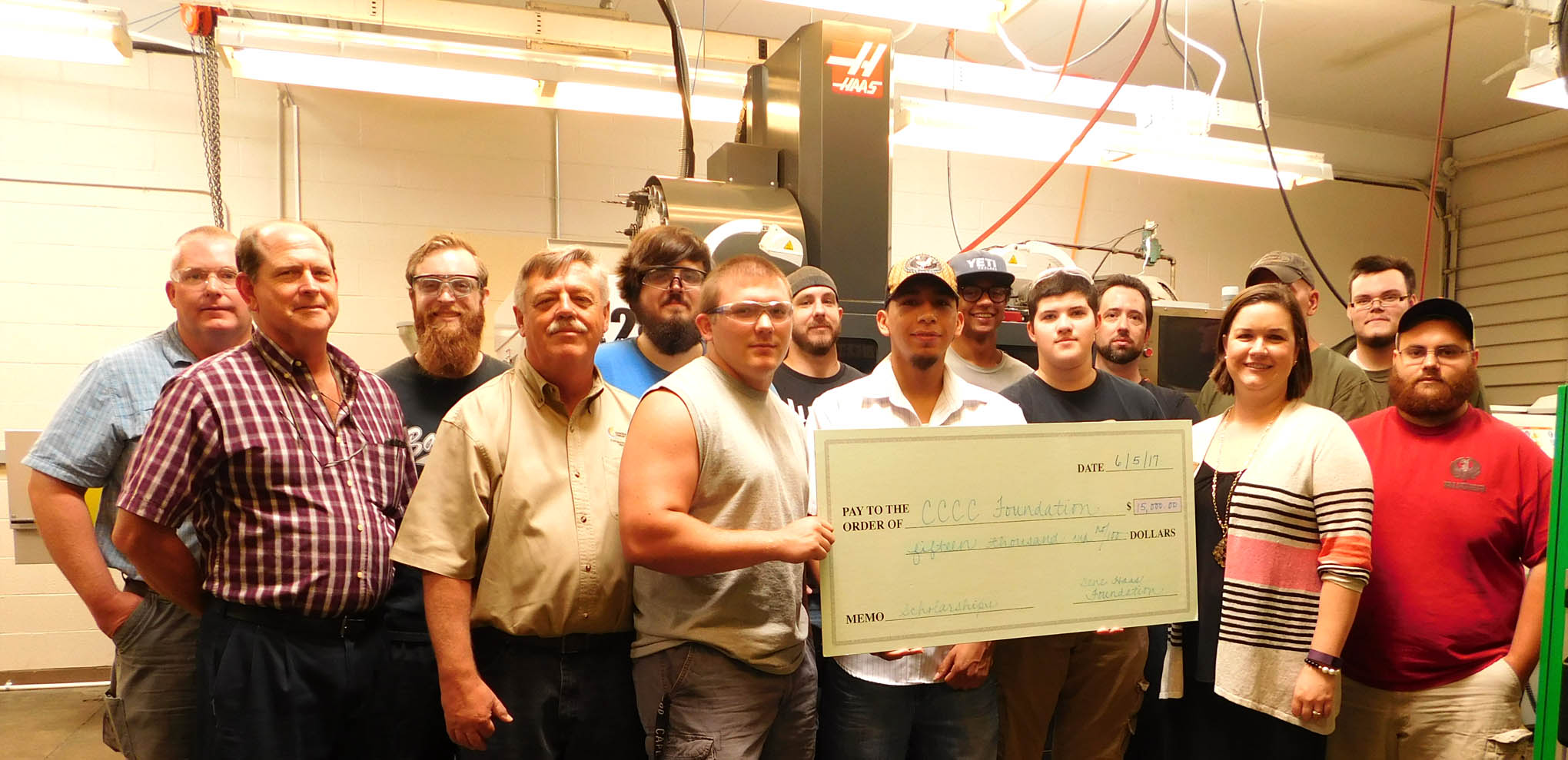 Click to enlarge,  Students, faculty, and staff involved in Central Carolina Community College's Computer Integrated Machining program are thankful to the Gene Haas Foundation for providing $15,000 in scholarship support to the program.