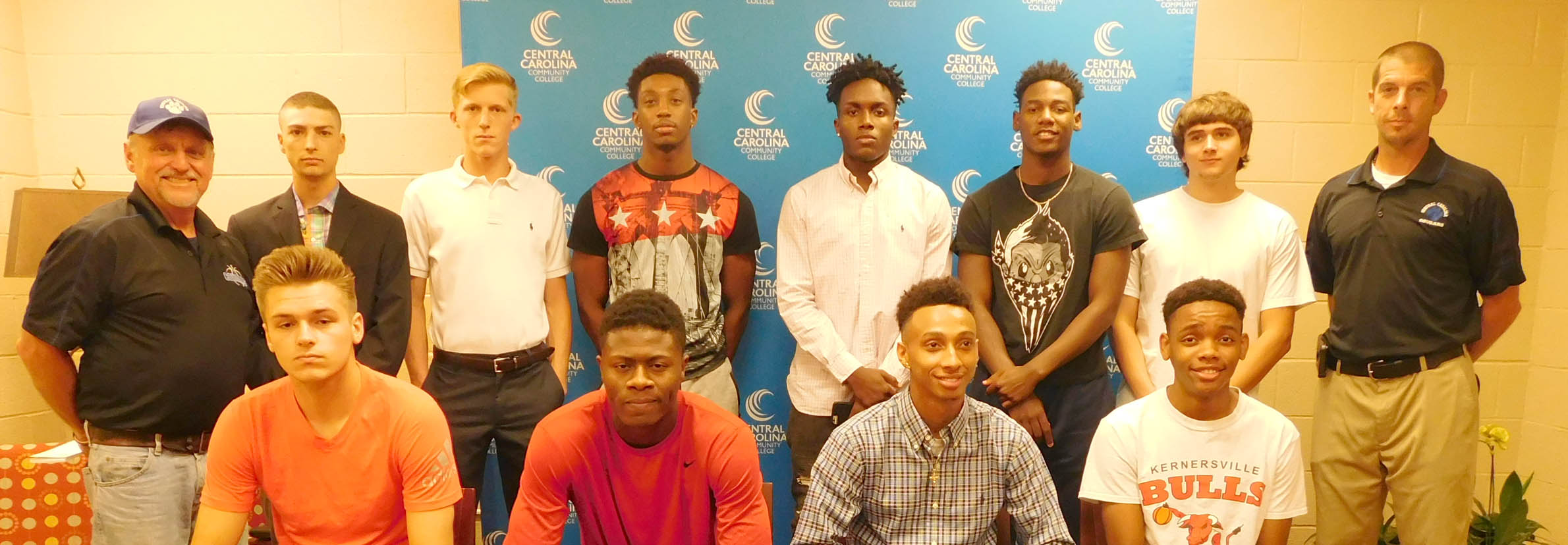 Click to enlarge,  Eleven student-athletes have signed to join the Central Carolina Community College men's basketball program for the 2017-2018 season. Pictured are, left to right: front row, Caleb Thomas, Jeremiah Tolbert, Michael Brown, and Daniel Matangira; back row, CCCC Head Coach Doug Connor, Tyler Toro, Trey North, Chris George, Toby Brown Jr., Montel Moore, Cameron Wilson, and CCCC Assistant Coach Brad McDougald. Not pictured is Chrishawn Lindsey.
