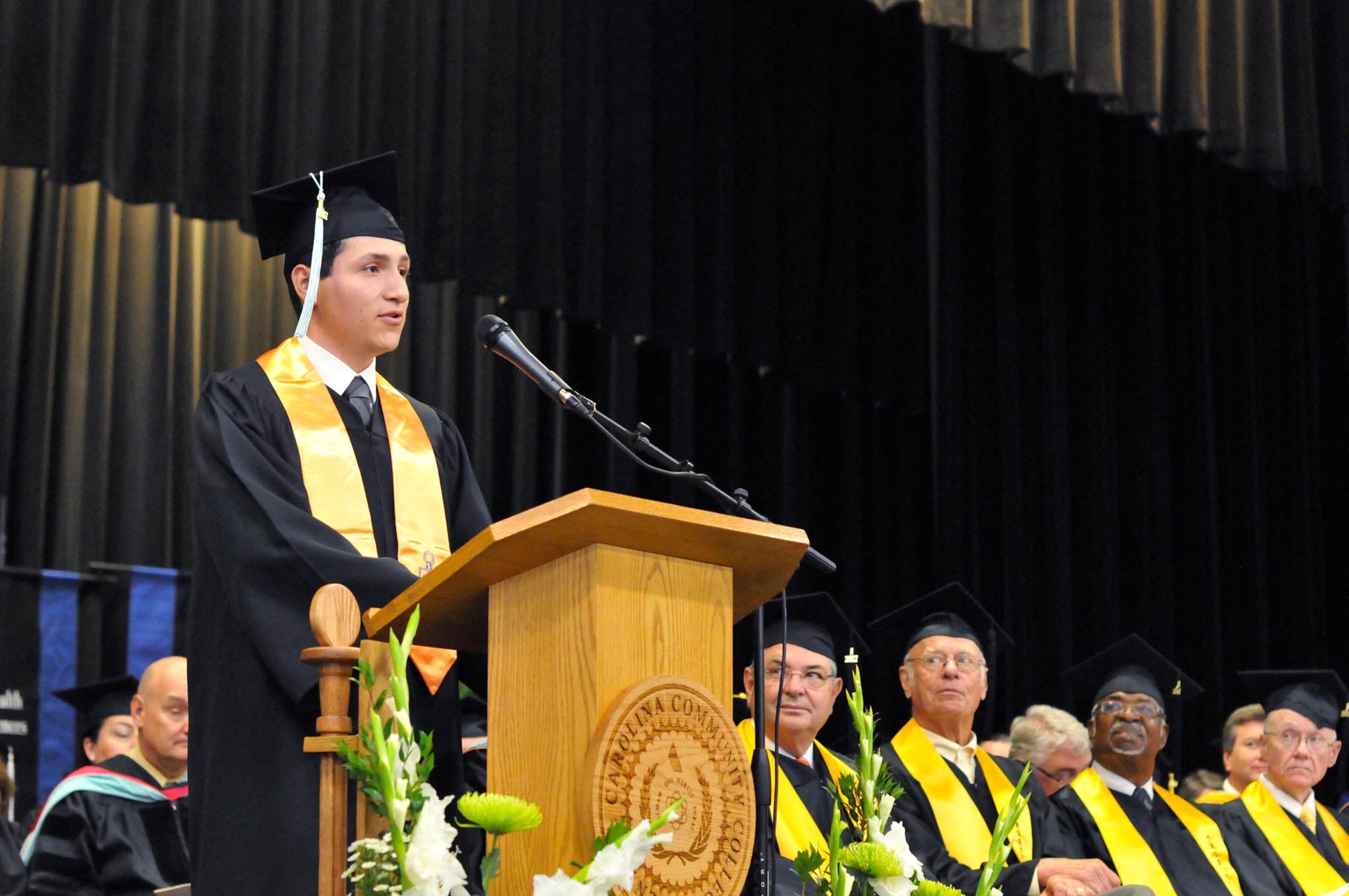 Click to enlarge,  Noel Martinez of Lee County (Associate in Arts) was a student speaker at the Central Carolina Community College 11:30 a.m. commencement exercises held on May 11 at the Dennis A. Wicker Civic Center in Sanford.