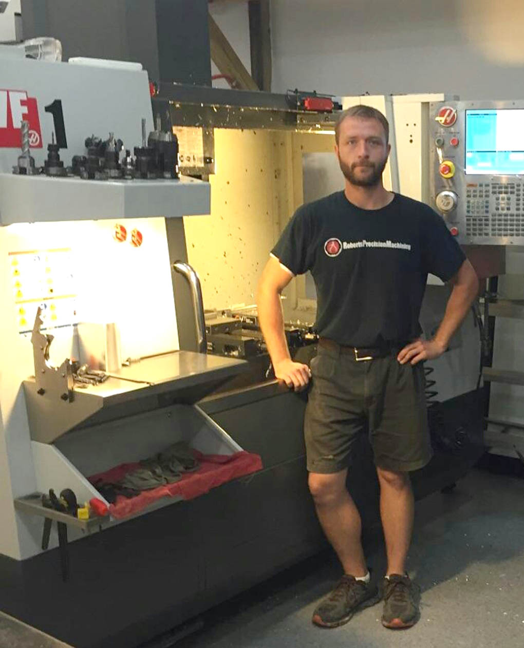 Click to enlarge,  Hunter Roberts, a Central Carolina Community College graduate, is owner and president of Roberts Precision Machining Inc., a full-service machining company located in Cary.