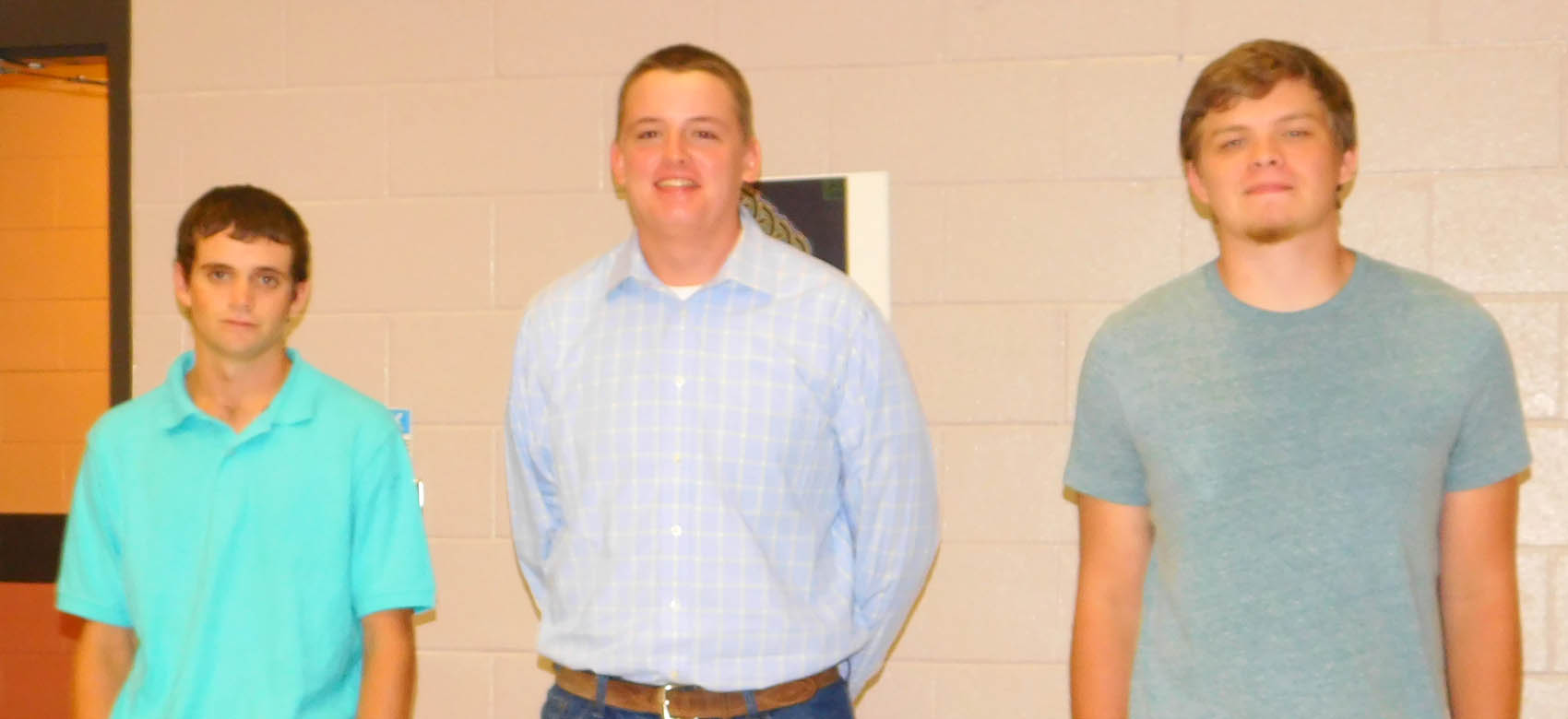 Click to enlarge,  The newest Harnett County student inductees of the Central Carolina Apprenticeship Works in Welding Technology program are, left to right: Jack Taylor, Hunter Savage, and Hunter DeLeo. Not pictured are Ricky Archer, Lauren Barefoot, and Katherine Schermerhorn.