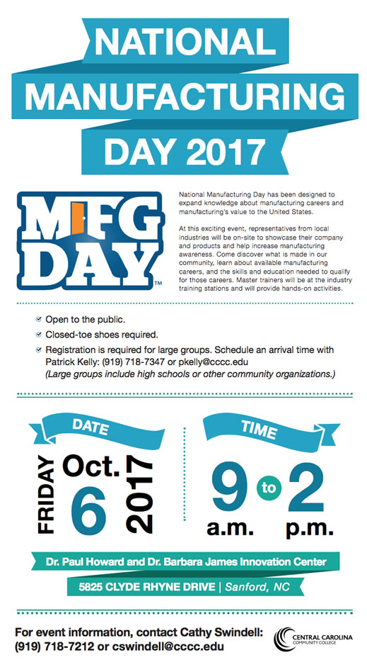 Click to enlarge,  Central Carolina Community College's Innovation Center will participate in National Manufacturing Day on Friday, Oct. 6