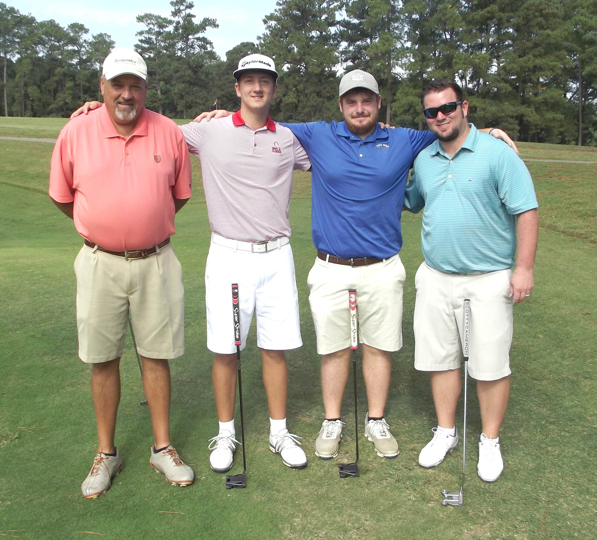Click to enlarge,  The team of Brandon Honeycutt, Matthew Honeycutt, Chris Brown, and Keith Thomas won the first flight of the morning tournament of the CCCC Foundation Lee Golf Classic.