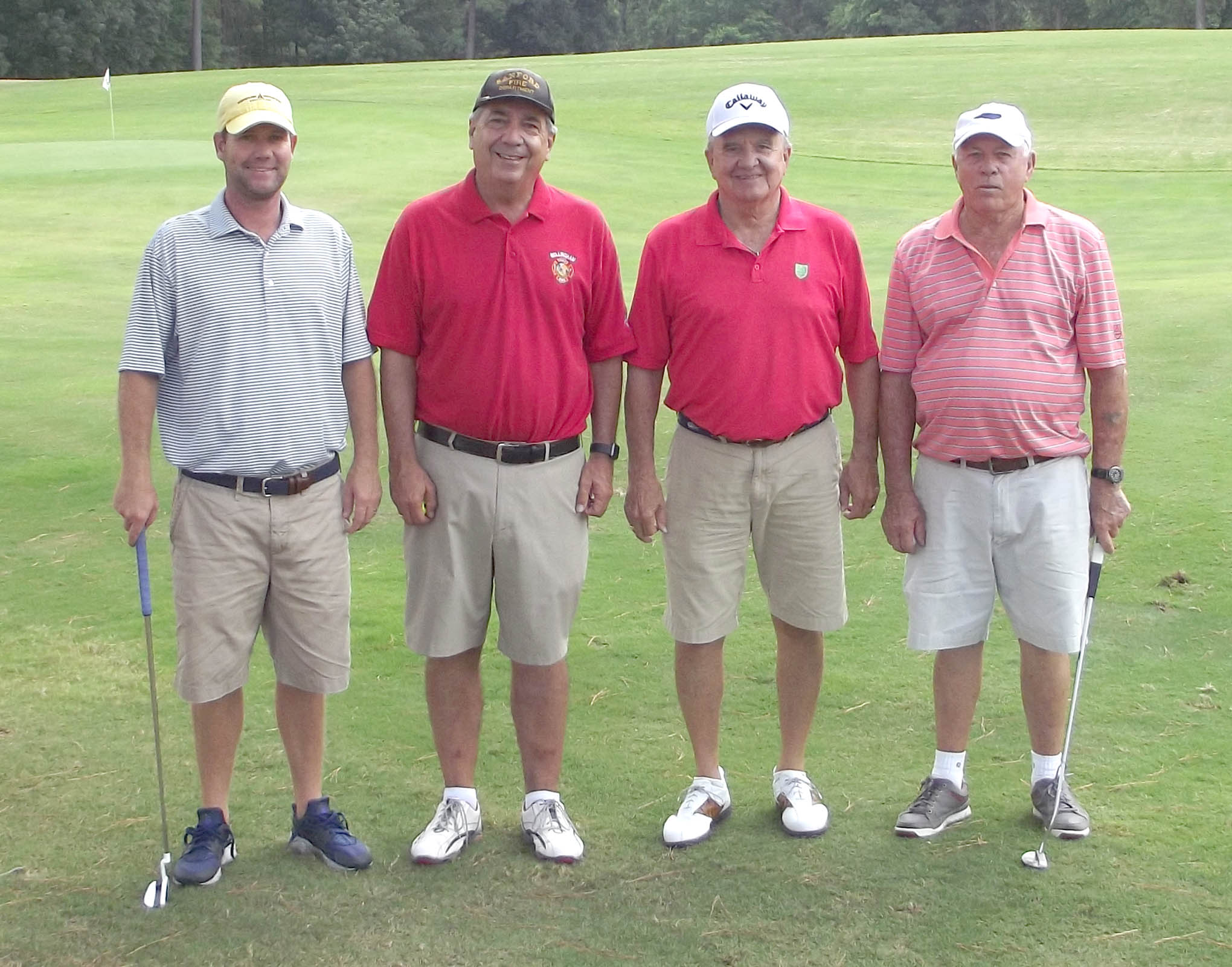 Click to enlarge,  The team of David Wicker, Craig Lister, Ronnie Brown, and Bobby Powell tied for first in the second flight of the afternoon tournament of the CCCC Foundation Lee Golf Classic.