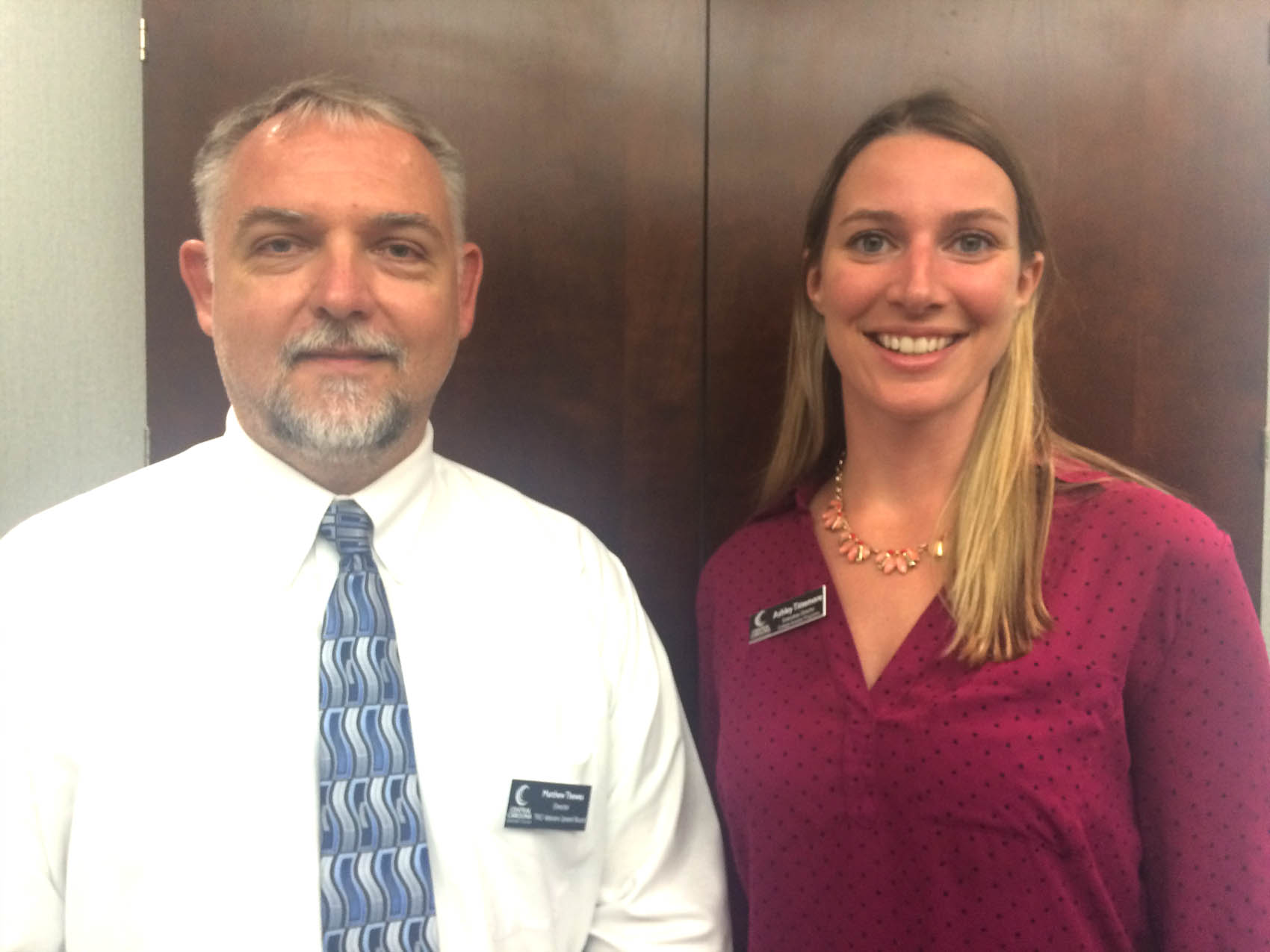 Click to enlarge,  Matt Thewes (left), Central Carolina Community College Veterans Upward Bound Director, and Ashley Tittemore, CCCC Executive Director of College Access Programs are ready to assist veterans through the Veterans Upward Bound program.