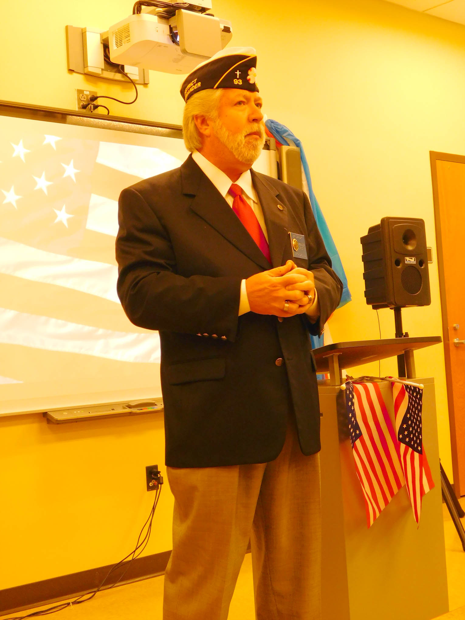 Click to enlarge,  Jeff Cathcart, a U.S. Navy veteran who is District Commander for The American Legion in N.C., was guest speaker for the 2017 Veterans Day observance at the CCCC Siler City Center.