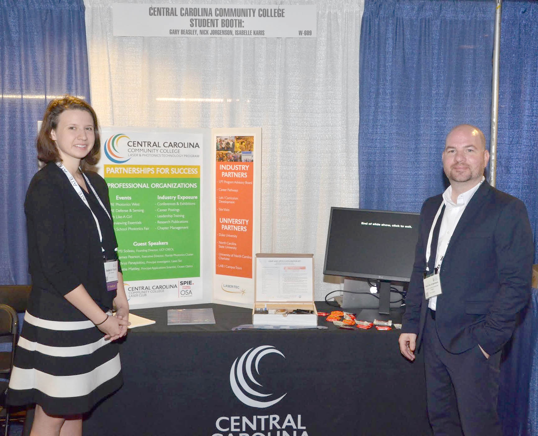Click to enlarge,  Central Carolina Community College students Isabelle Karis and Nickolas Jorgenson are pictured at the CCCC student booth at the recent National Advanced Technological Education (ATE) Principal Investigators Conference in Washington, D.C.
