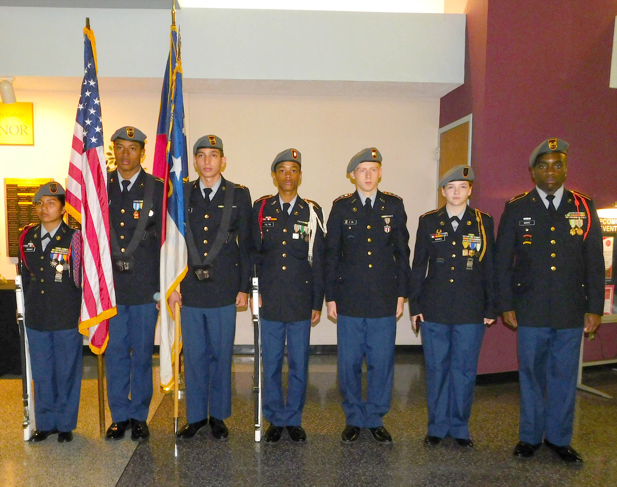 Click to enlarge,  Members of the Southern Lee High School JROTC program participate in a program to honor veterans on Thursday, Nov. 9, at the Dennis A. Wicker Civic Center.