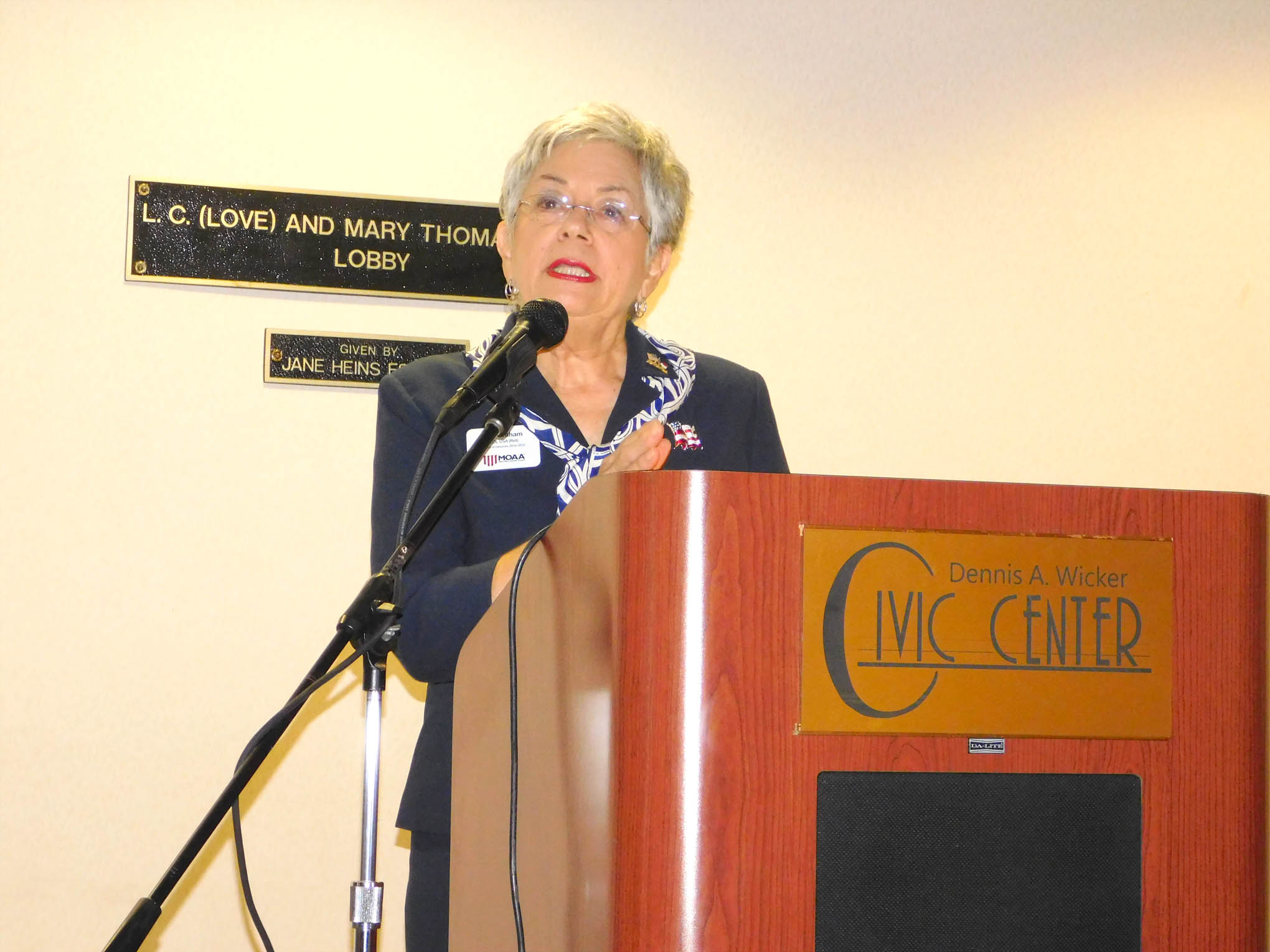 Click to enlarge,  Jeri Graham, Colonel, USA, Ret., was among the speakers in a program to honor veterans on Thursday, Nov. 9, at the Dennis A. Wicker Civic Center.