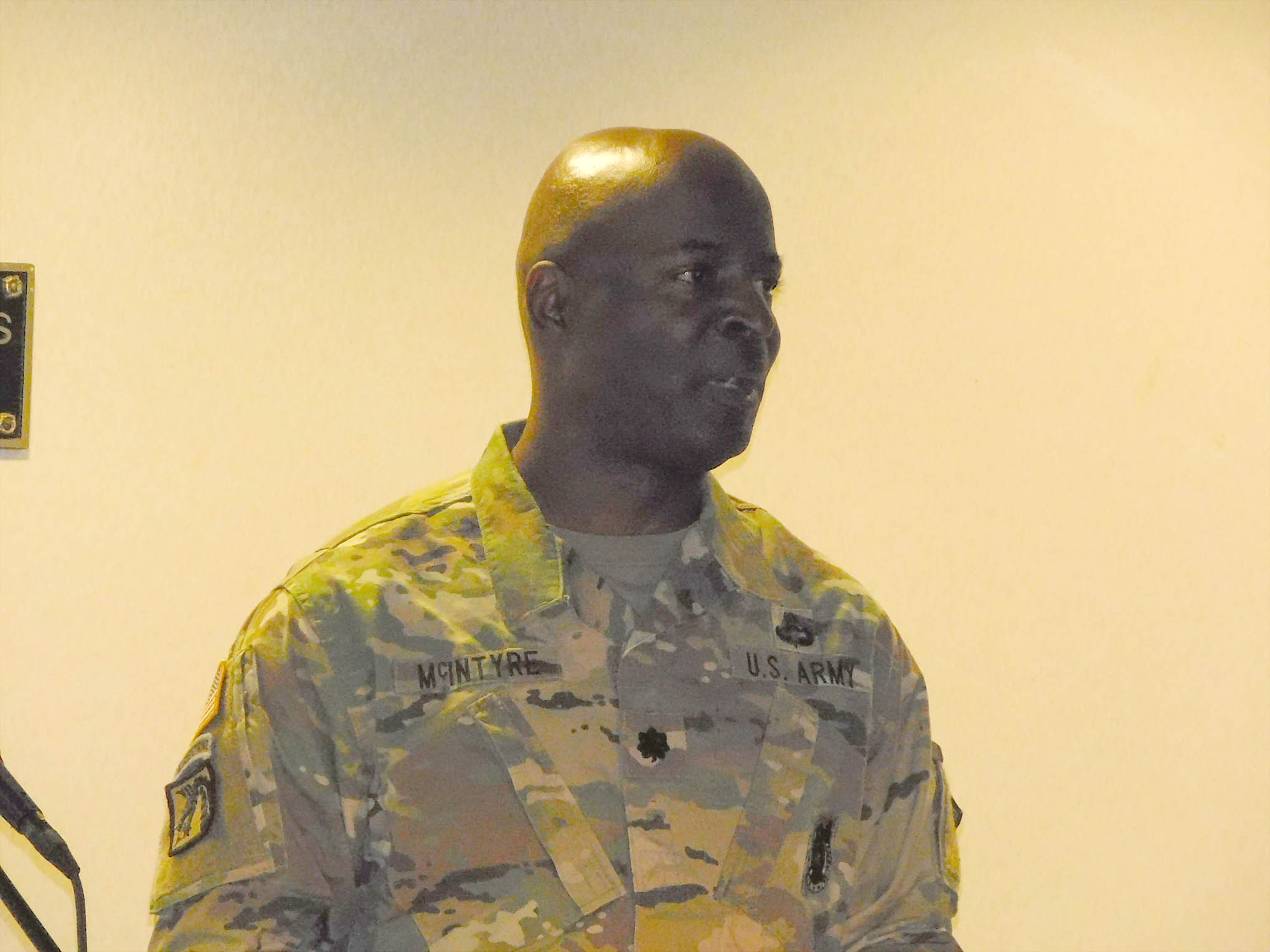 Click to enlarge,  Lt. Col. Ernest A. McIntyre Jr., U.S. Army (Ret.), Southern Lee High School JROTC Commander, was among the speakers in a program to honor veterans on Thursday, Nov. 9, at the Dennis A. Wicker Civic Center.