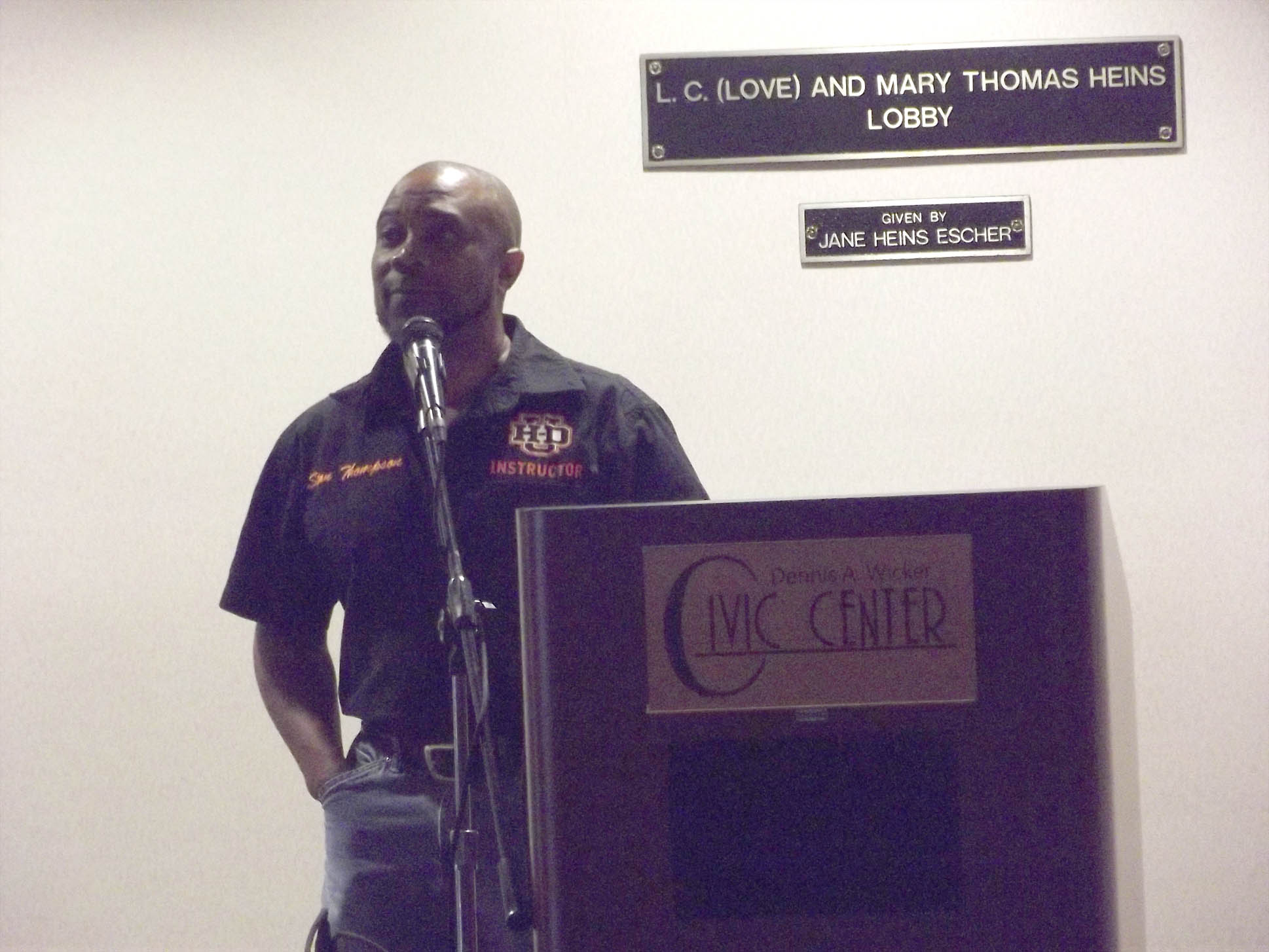 Click to enlarge,  Stanley Thompson, CCCC Motorcycle Mechanics Lead Instructor, was among the speakers in a program to honor veterans on Thursday, Nov. 9, at the Dennis A. Wicker Civic Center.