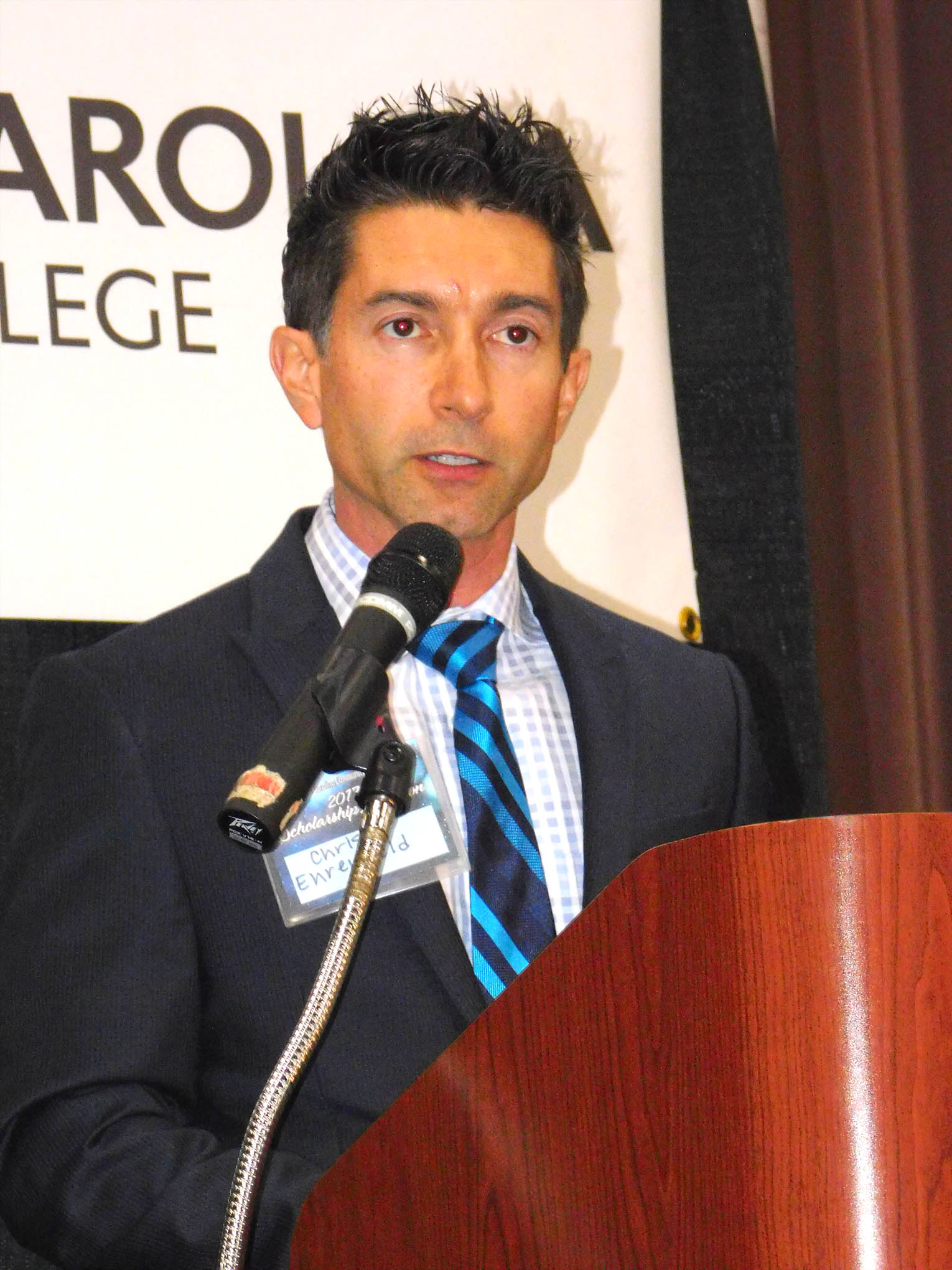 Click to enlarge,  Chris Ehrenfeld, CCCC Foundation President, provided welcoming remarks during Central Carolina Community College's Scholarship Luncheon on Wednesday, Nov. 15, at the Dennis A. Wicker Civic Center.