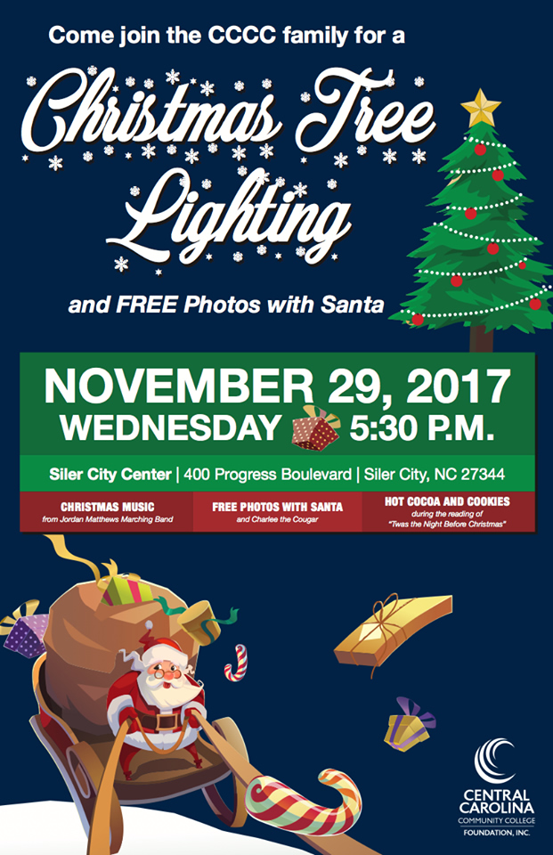 Click to enlarge,  Join us for the CCCC Foundation's Christmas Tree Lighting event on Nov. 29 at the college's Siler City Center.
