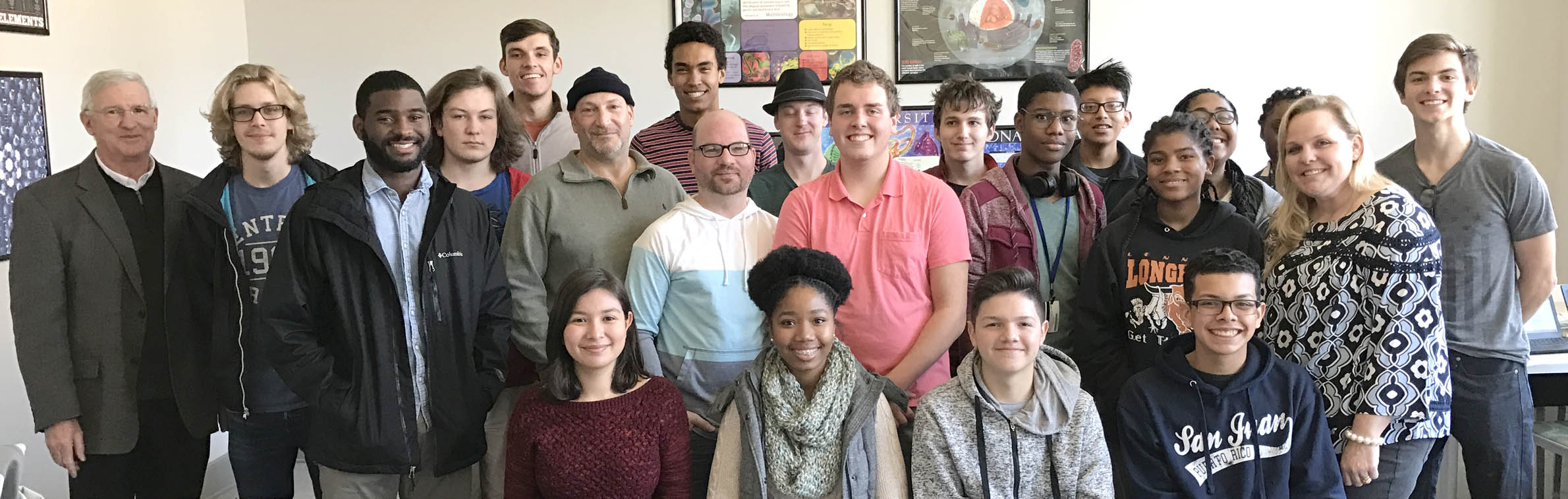 Click to enlarge,  Central Carolina Community College Laser & Photonics Lead Instructor Gary Beasley and his CCCC students visit with Harnett County Early College Science teacher Sherrie Ivey and her students.
