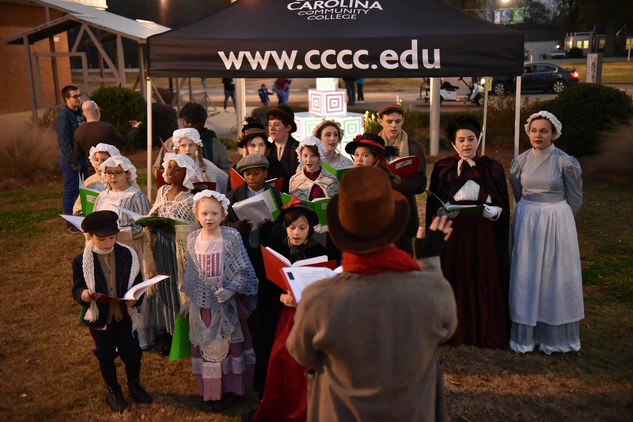 Click to enlarge,  The Temple Teens participated in the Central Carolina Community College Foundation Christmas Tree Lighting celebration.