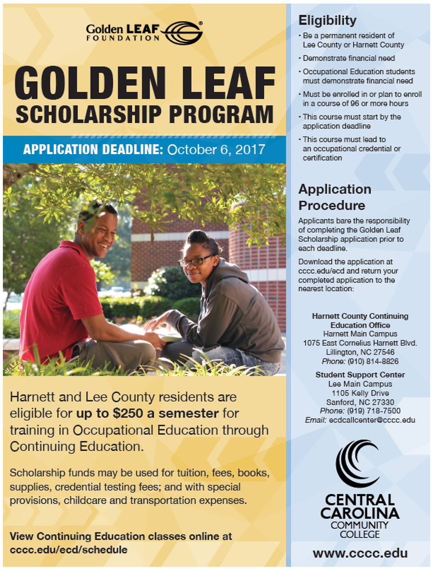 CCCC's Lee and Harnett students eligible for Golden LEAF Scholars