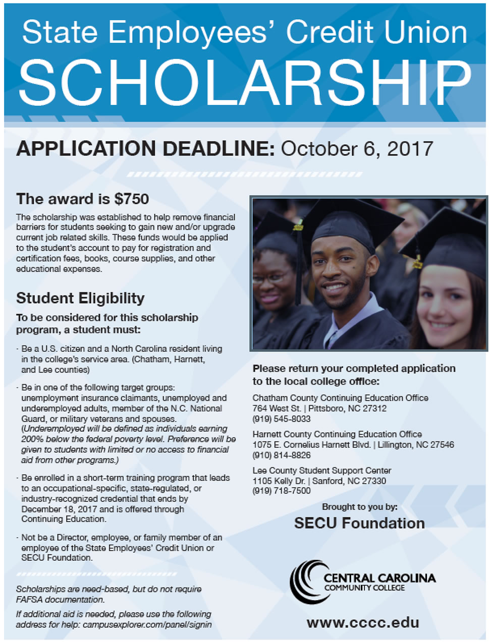 Click to enlarge,  For more information on the scholarship, call CCCC at 919-718-7500, 910-814-8826, or 919-545-8033.