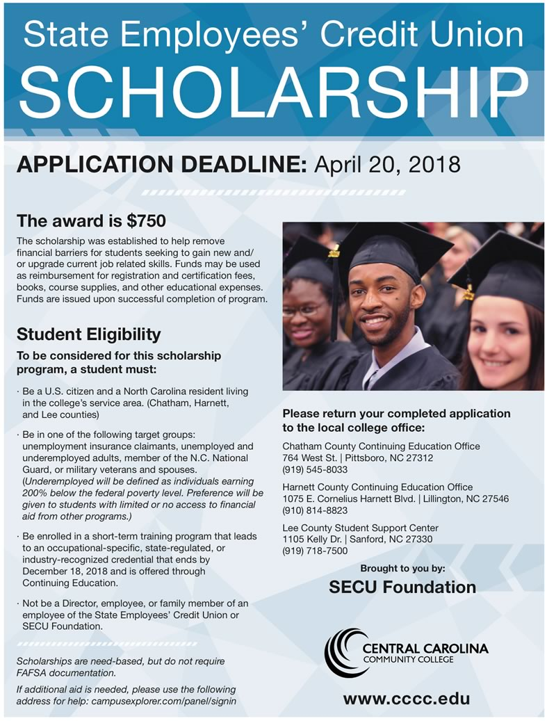 CCCC joins SECU for scholarship opportunity 01/26/2018