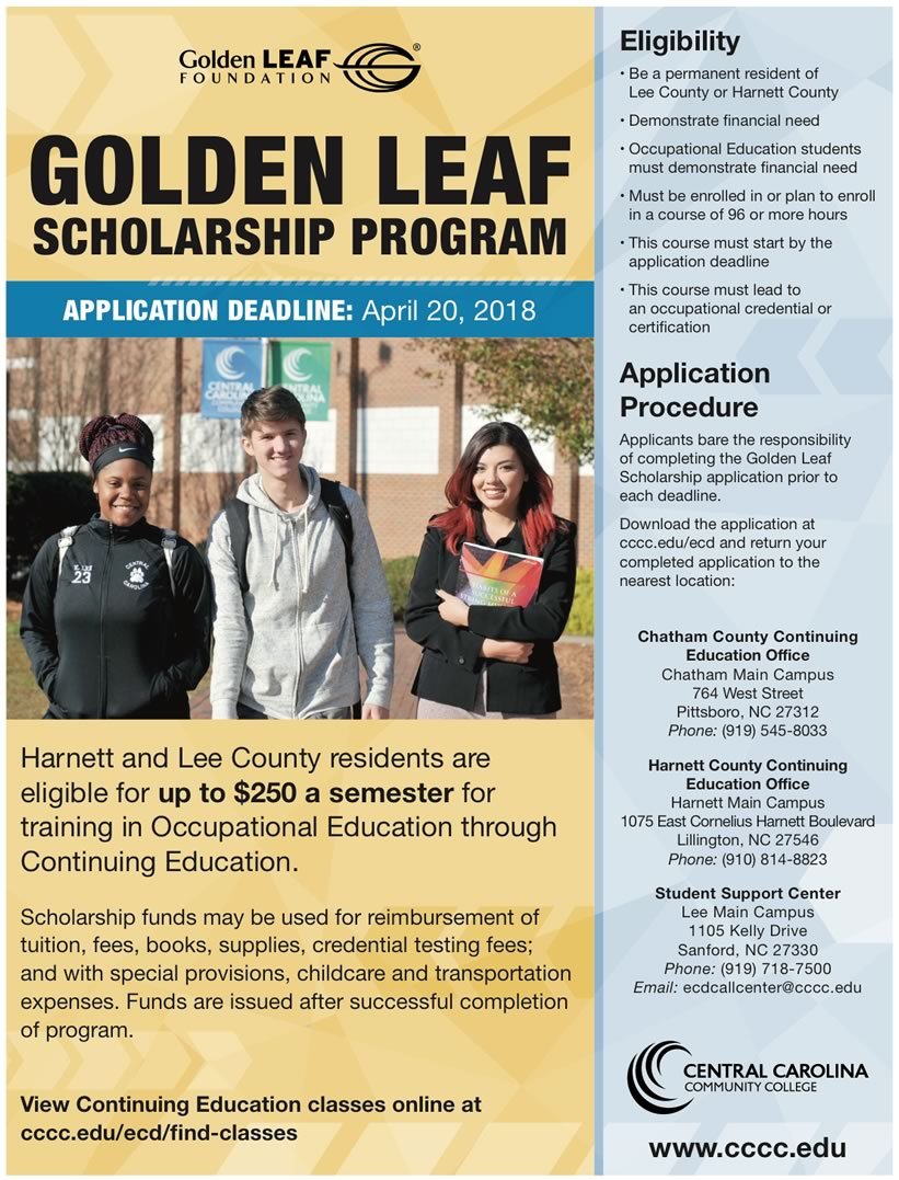 Read the full story, CCCC's Harnett and Lee students eligible for Golden LEAF Scholars Program