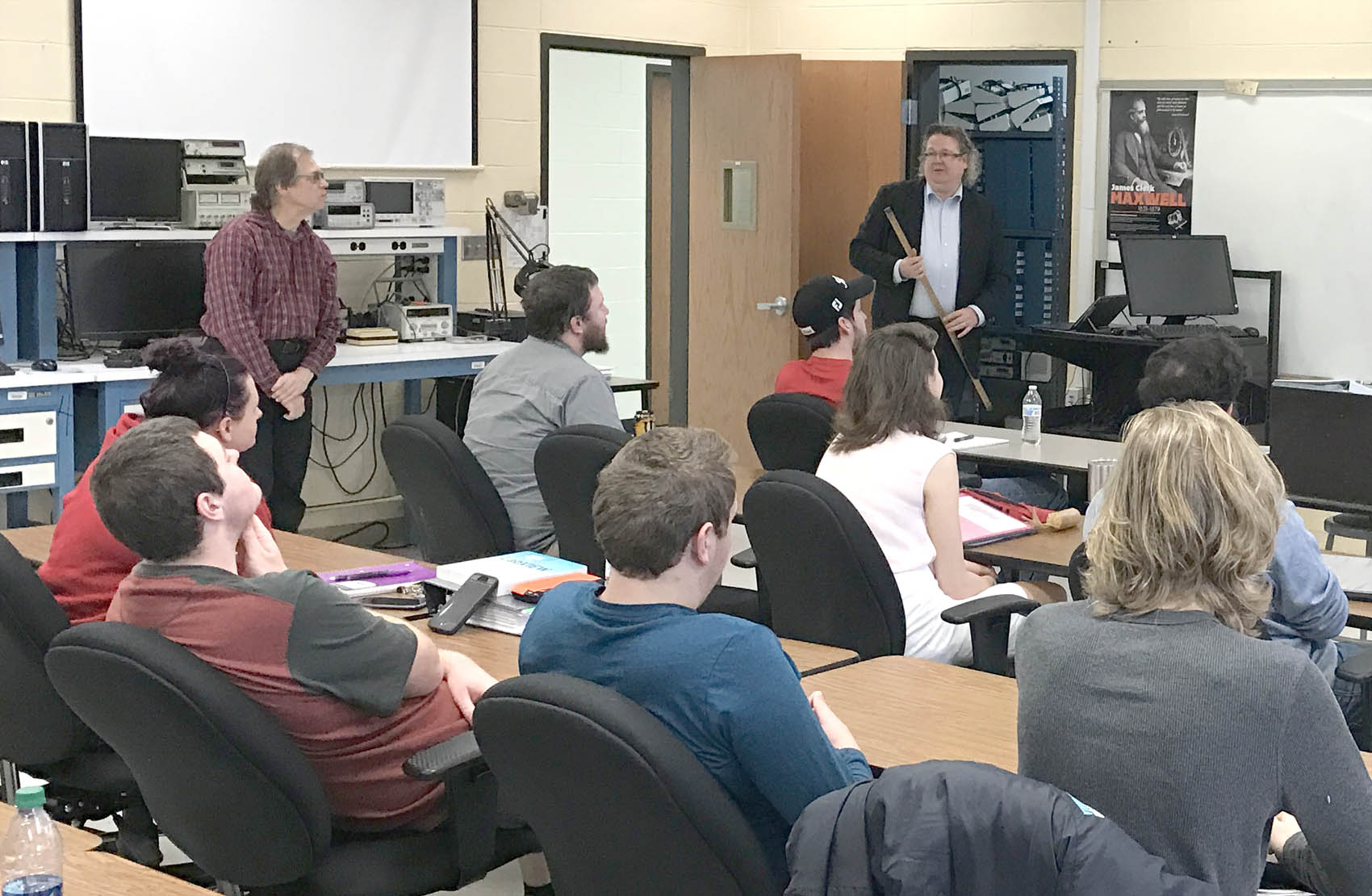 Click to enlarge,  Dr. Jyrki Saarinen, Professor at the University of Eastern Finland and Head of Institute of Photonics, recently visited the Laser and Photonics program at Central Carolina Community College.