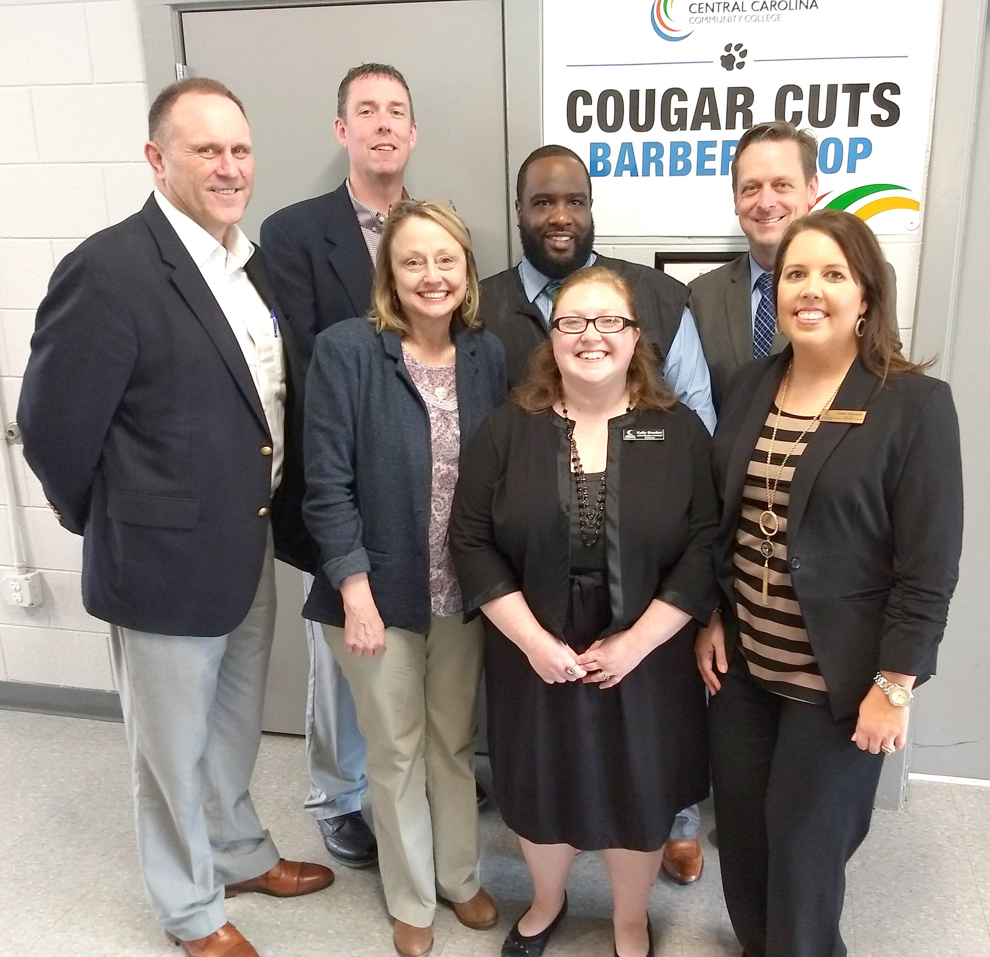 Click to enlarge,  The Central Carolina Community College Barbering program recently hosted officials from McDowell Technical Community College at the CCCC Dunn Center. Visiting were McDowell President Dr. John Gossett; Dr. Penny Cross, Vice President for Learning and Student Services; and Ryan Garrison, Vice President for Finance and Administration. Representing CCCC during the visit were Dr. Jon Matthews, Harnett Provost; Arthur McCullers, Barbering Instructor; Susan Johnson, Department Chair of Cosmetic Arts; and Kelly Brucker, Barbering Administrative Assistant.
