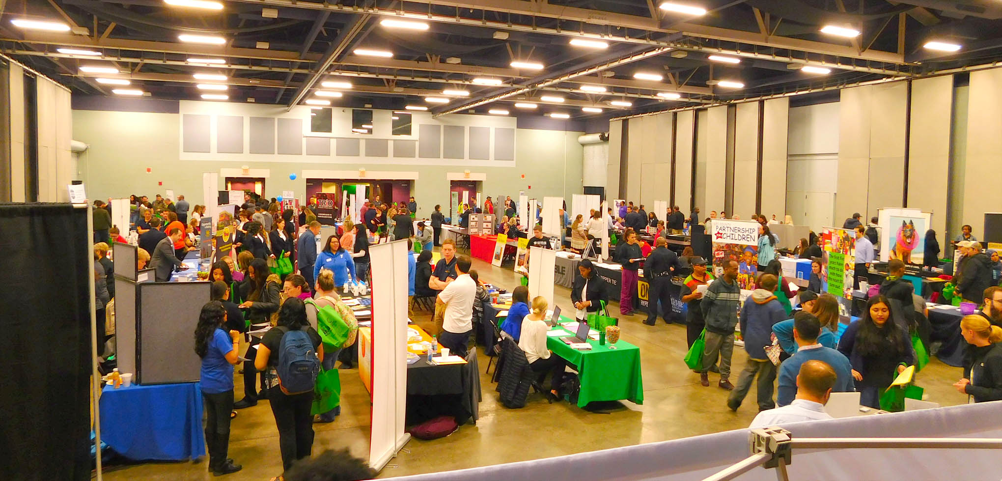Click to enlarge,  Approximately 100 exhibitors were present for the Central Carolina Community College Annual Career Fair 2018. For more information on the CCCC Career Center, people can contact the Career Center at 919-718-7396 or visit the CCCC website at www.cccc.edu/careercenter.