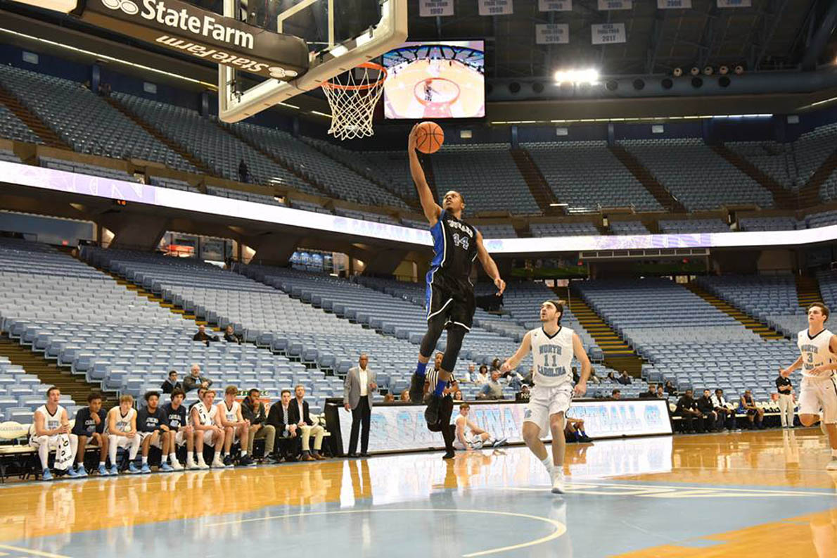 Click to enlarge,  Central Carolina Community College's David Thompson performs against the University of North Carolina at Chapel Hill junior varsity team. Thompson has been named to the National Junior College Athletic Association (NJCAA) Division III Third Team All-America Team.