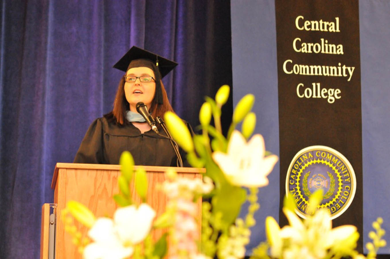 Click to enlarge,  Bianka Rhodes Stumpf, Central Carolina Community College Faculty Member of the Year, gave the commencement address.