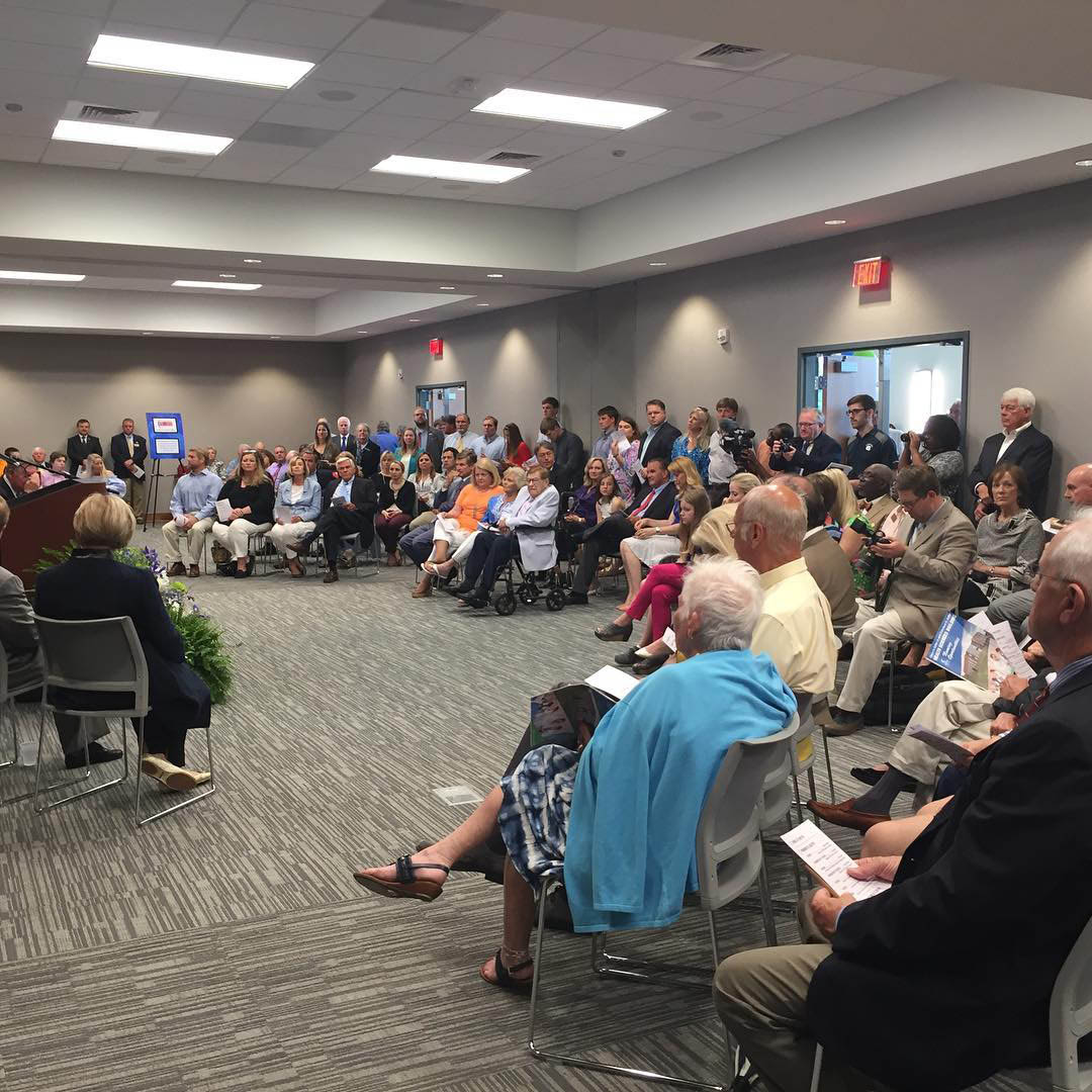 Click to enlarge,  Standing room only at the Grand Celebration, the opening of the new Oscar A. Keller Jr. and Elderlene R. Keller Health Sciences Building and the expansion of the Dennis A. Wicker Civic Center at Central Carolina Community College's Lee Main Campus in Sanford.