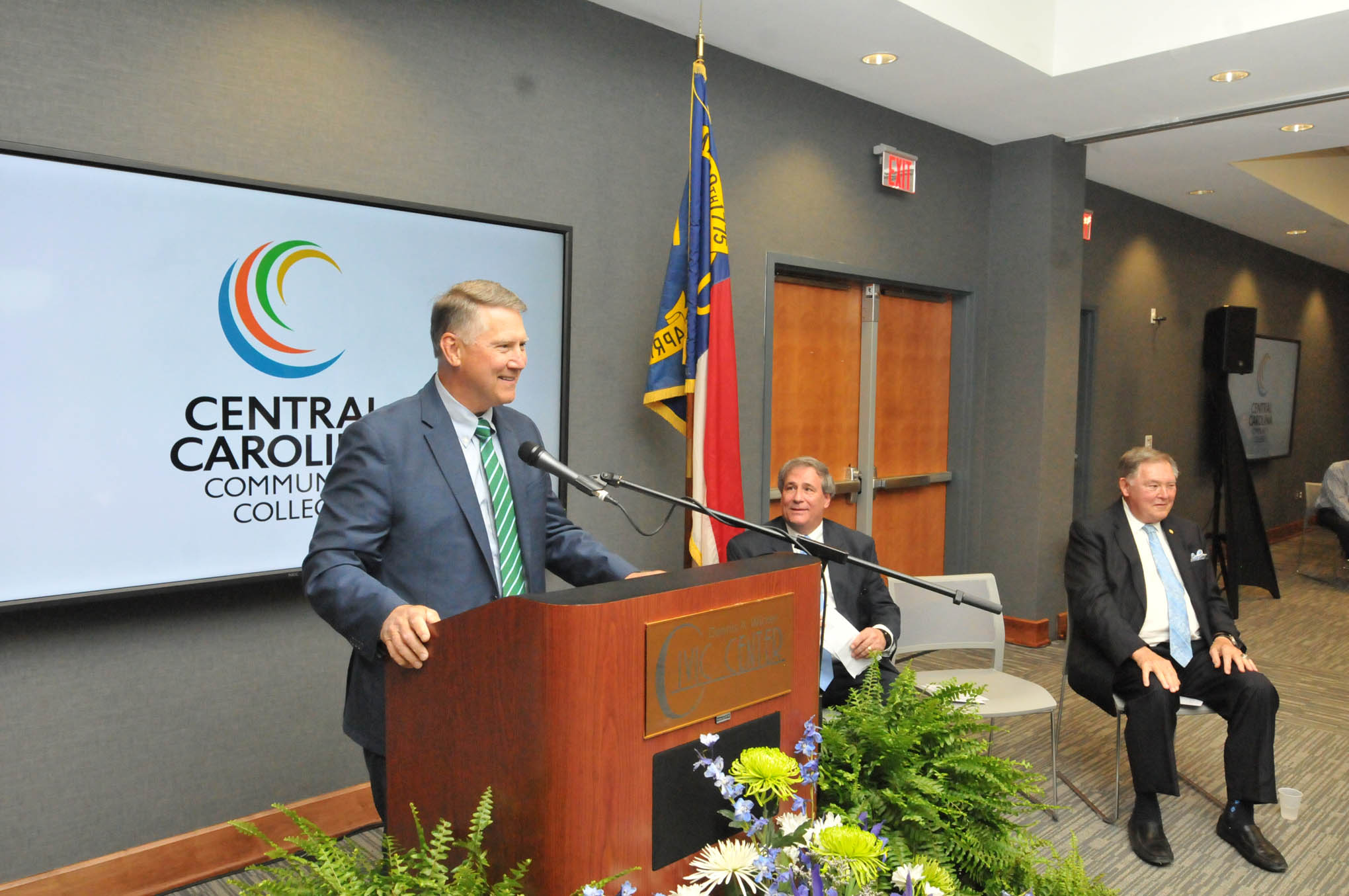Click to enlarge,  Former N.C. Lt. Gov. Dennis A. Wicker was one of the speakers for Central Carolina Community Grand Celebration -- the opening of the new Oscar A. Keller Jr. and Elderlene R. Keller Health Sciences Building and the expansion of the Dennis A. Wicker Civic Center.