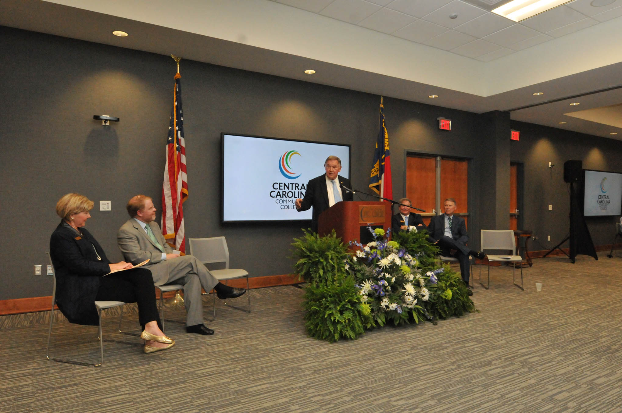Click to enlarge,  Former N.C. Secretary of State and Attorney General Rufus Edmisten was one of the speakers for Central Carolina Community Grand Celebration -- the opening of the new Oscar A. Keller Jr. and Elderlene R. Keller Health Sciences Building and the expansion of the Dennis A. Wicker Civic Center.