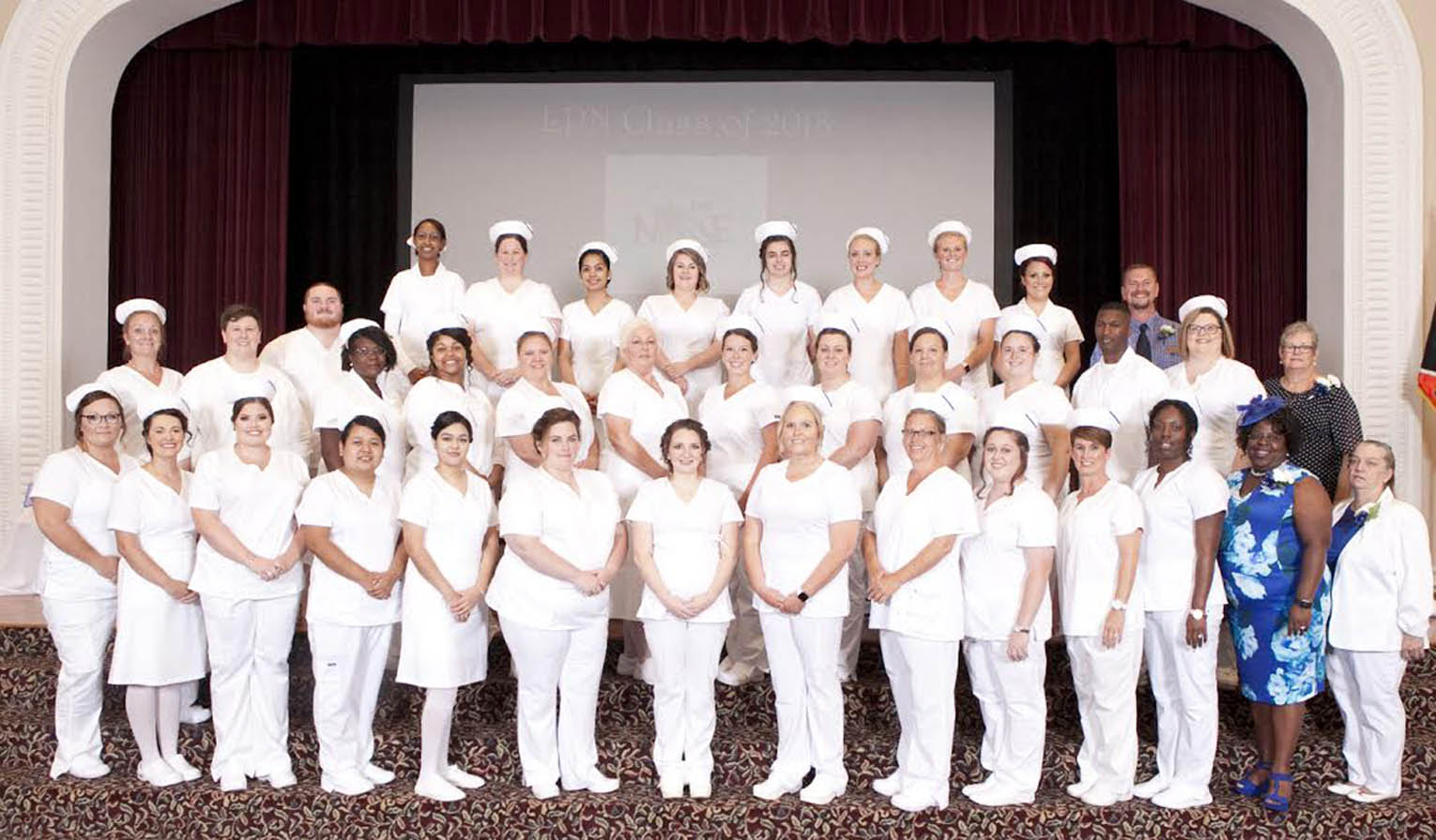 Click to enlarge,  The Central Carolina Community College Louise L. Tuller School of Nursing Practical Nursing program held a Pinning and Candle Lighting Ceremony for the Class of 2018 on Monday, July 23, at Campbell University's Turner Auditorium.