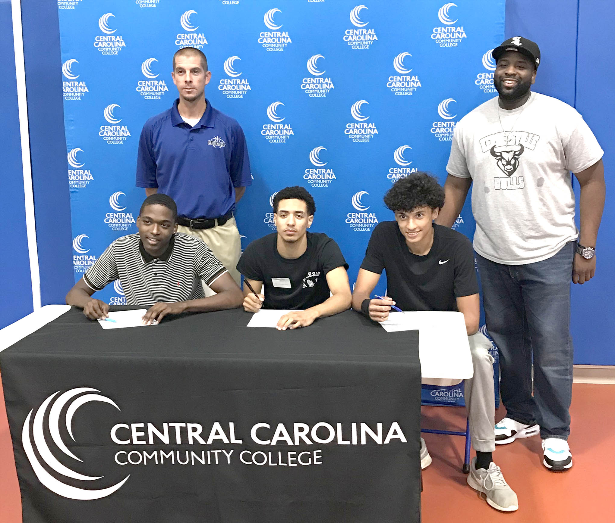 Click to enlarge,  Raequane Key (Parkland High School, Winston-Salem), Quintin Welch (Walkertown High School, Walkertown), and Christian Harris (East Forsyth High School, Winston-Salem) recently announced their decisions to join the Central Carolina Community College men's basketball program.