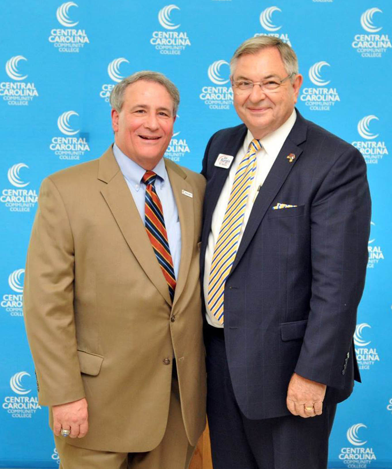 Click to enlarge,  Julian Philpott (left) and Jim Burgin have been reappointed as Chairman and Vice Chairman, respectively, of the Central Carolina Community College Board of Trustees for 2018-2019.