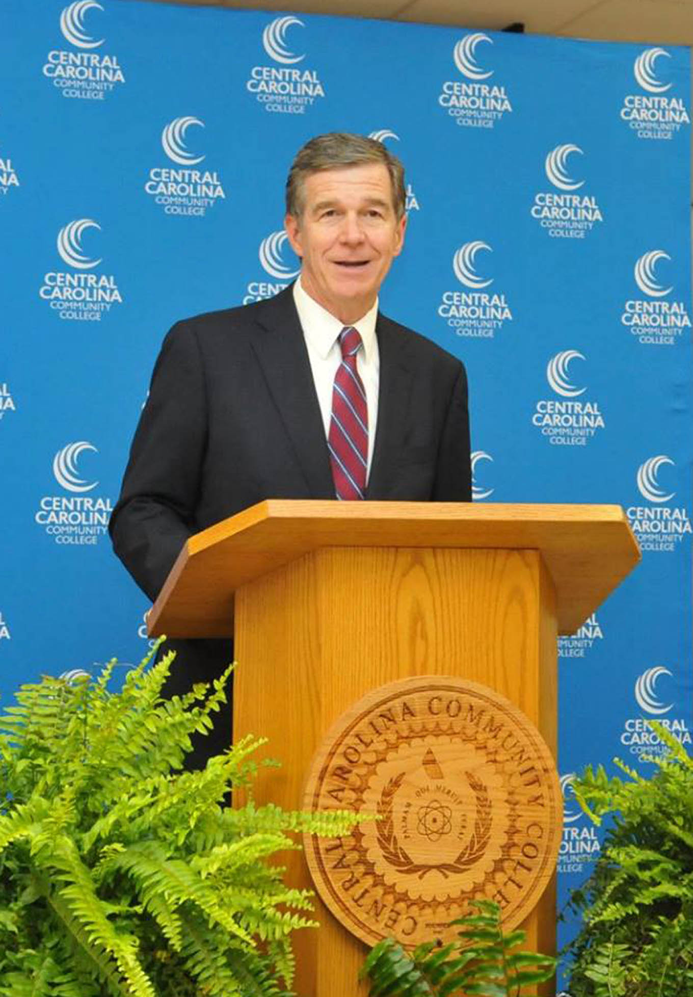 Click to enlarge,  N.C. Gov. Roy Cooper visited the Central Carolina Community College Chatham Main Campus in Pittsboro on Thursday, Aug. 23.