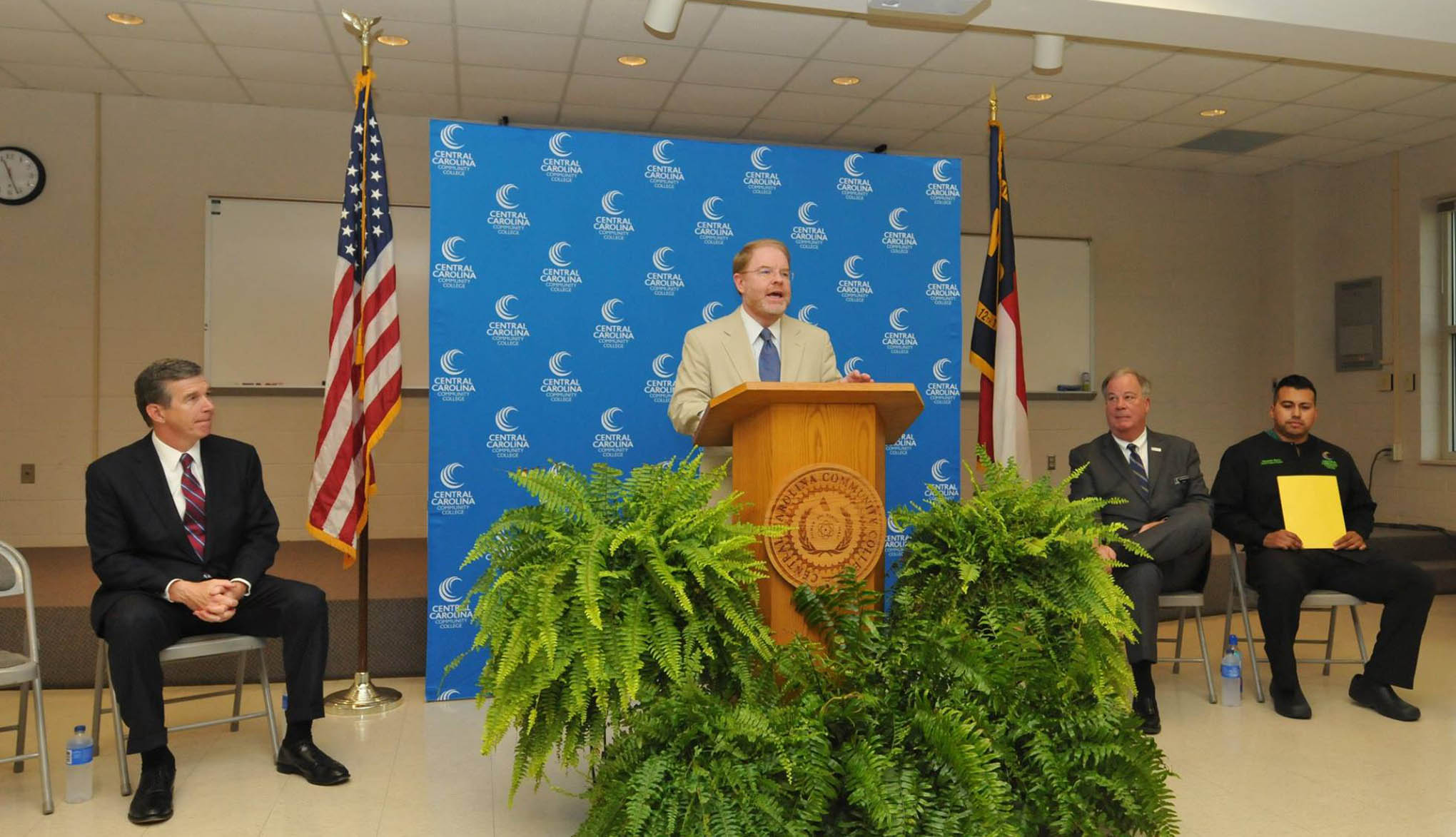 Click to enlarge,  North Carolina Community College System President Peter Hans presented remarks during N.C. Gov. Roy Cooper's visit to the CCCC Chatham Main Campus in Pittsboro on Thursday, Aug. 23.